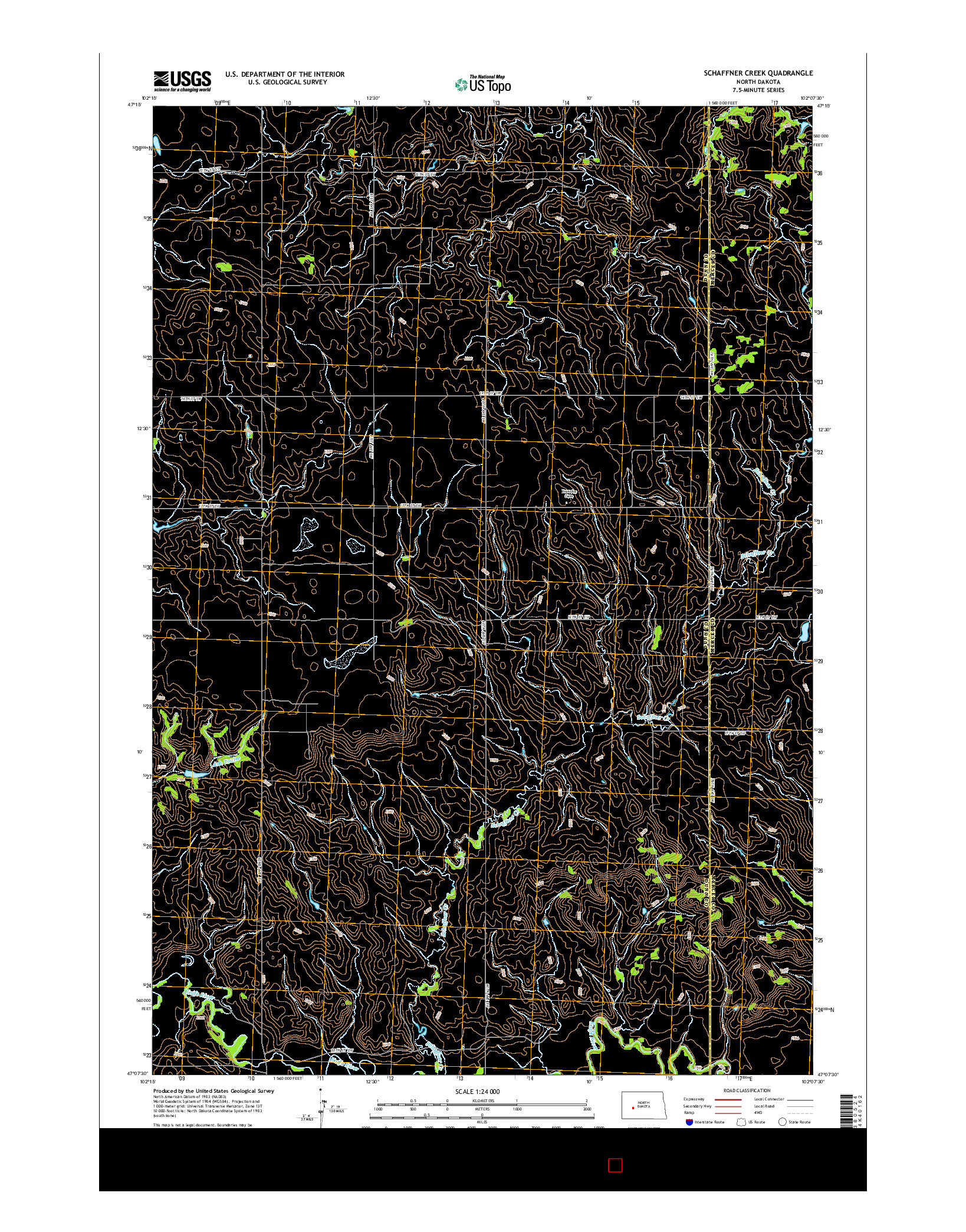 USGS US TOPO 7.5-MINUTE MAP FOR SCHAFFNER CREEK, ND 2014
