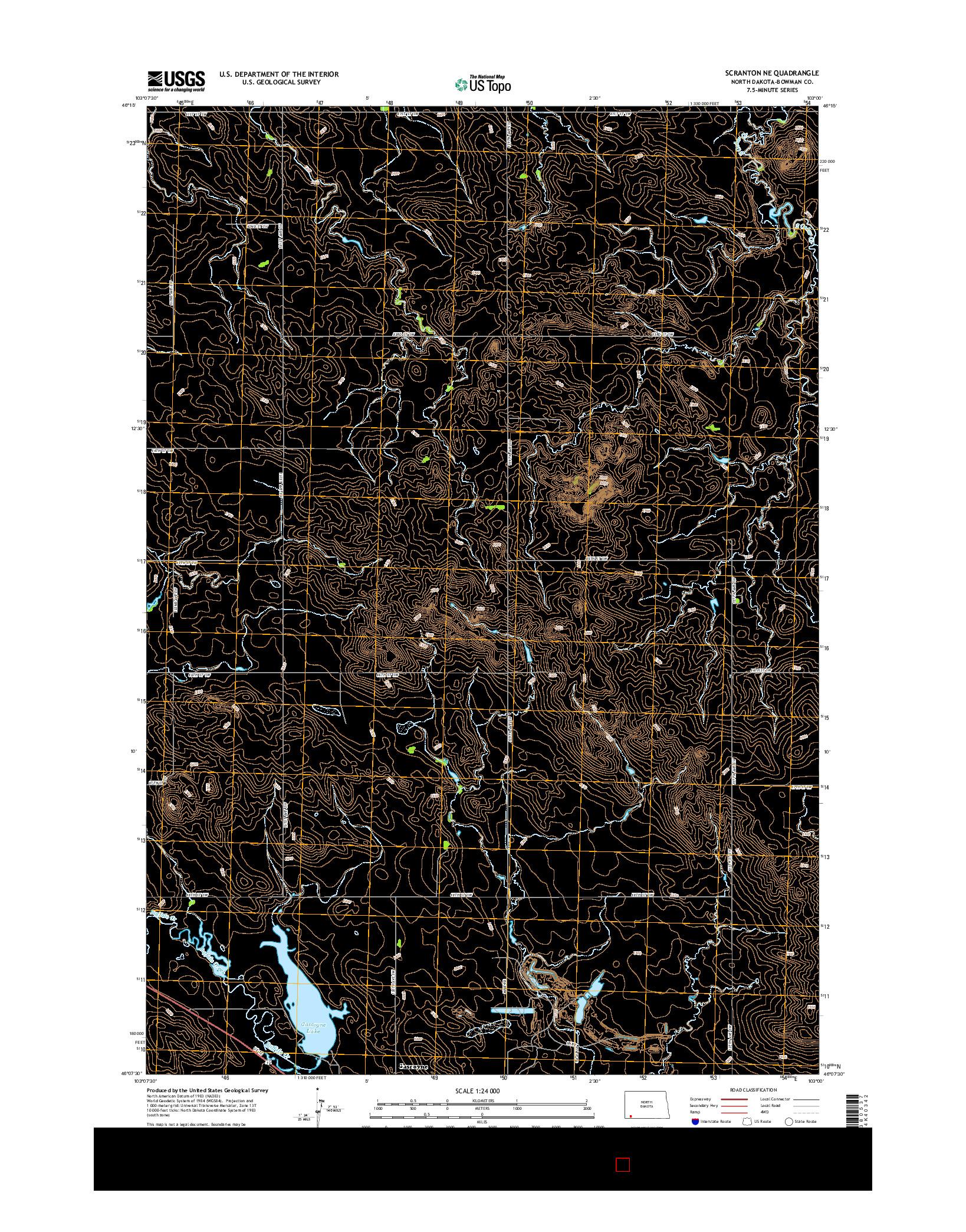 USGS US TOPO 7.5-MINUTE MAP FOR SCRANTON NE, ND 2014