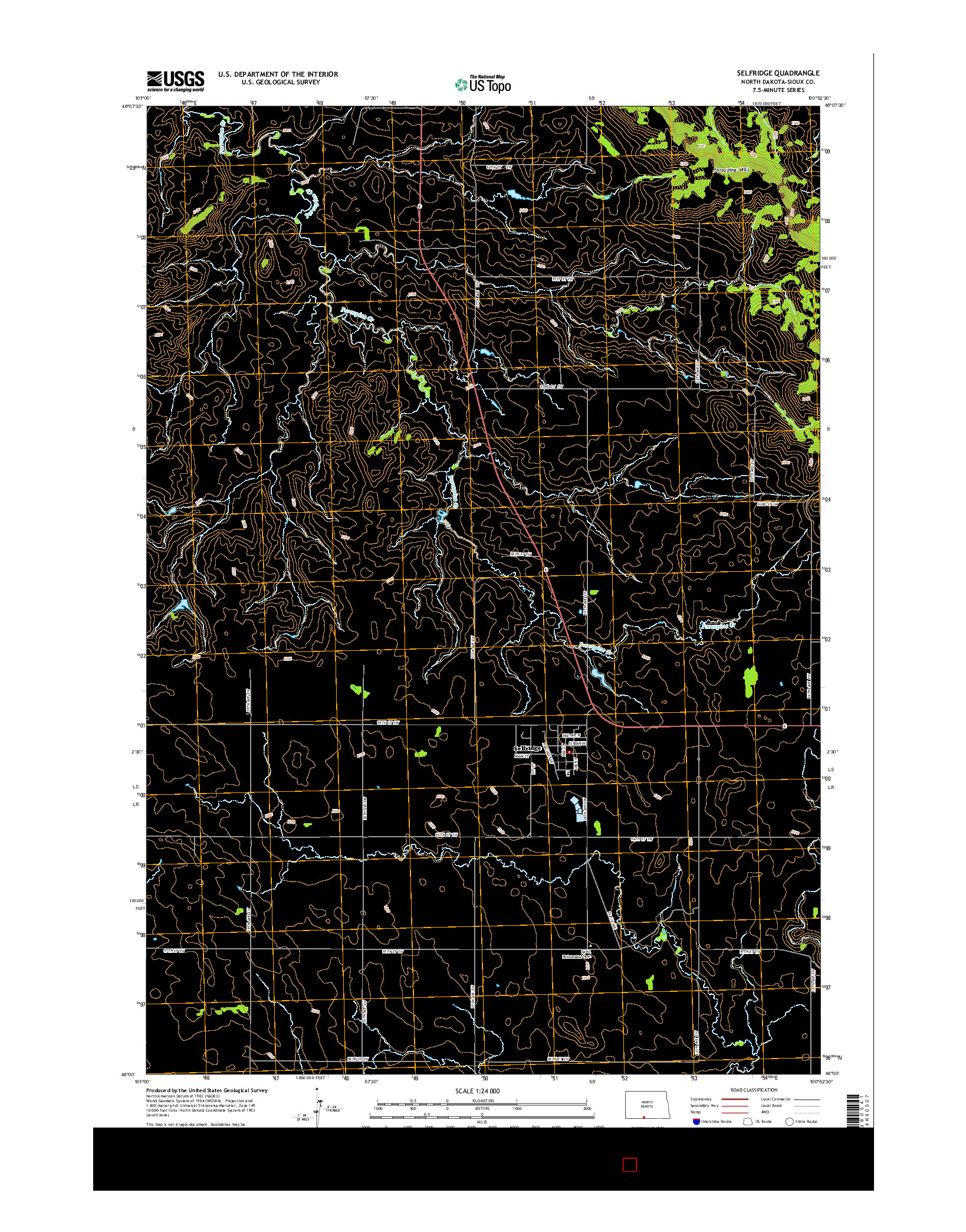 USGS US TOPO 7.5-MINUTE MAP FOR SELFRIDGE, ND 2014