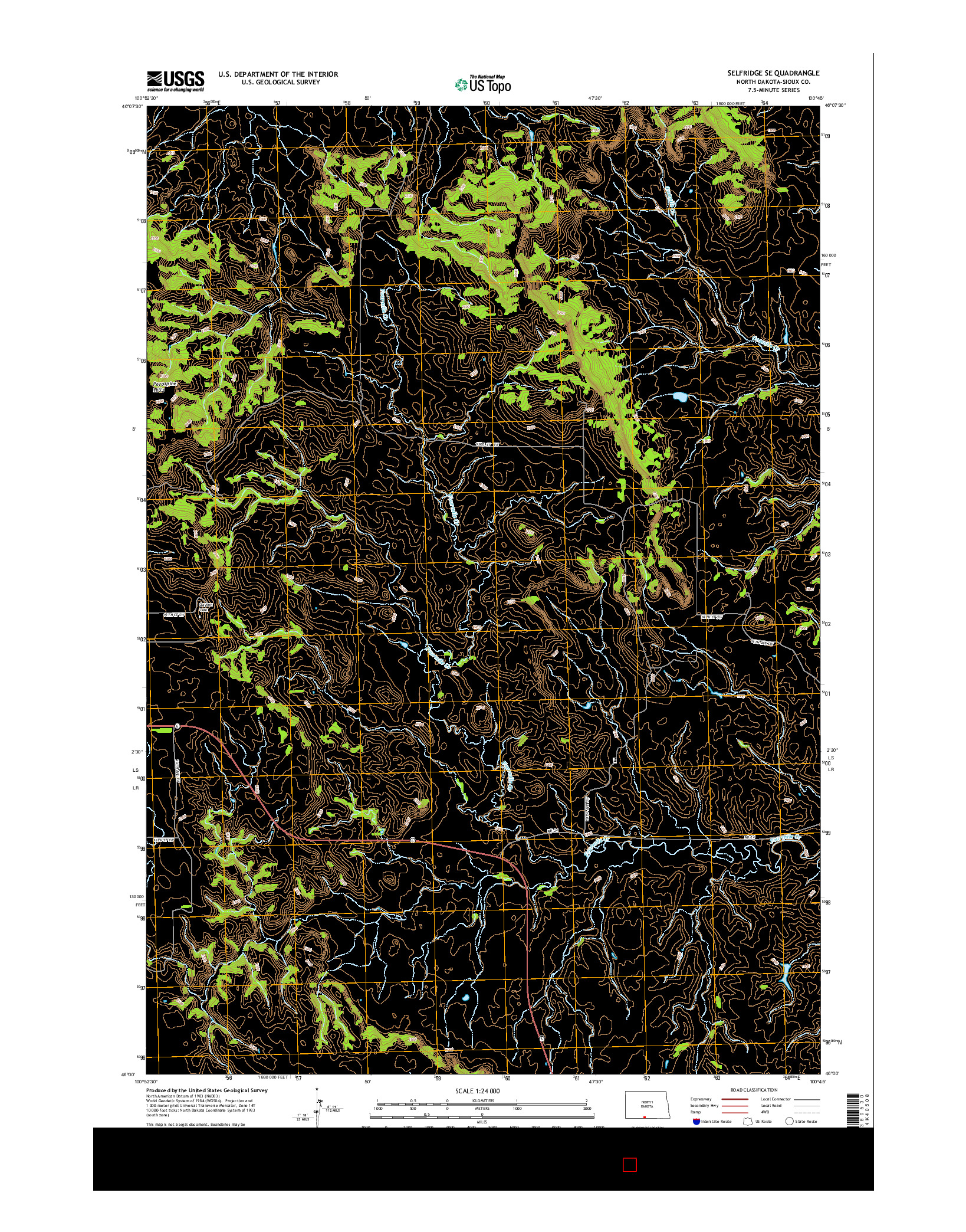 USGS US TOPO 7.5-MINUTE MAP FOR SELFRIDGE SE, ND 2014