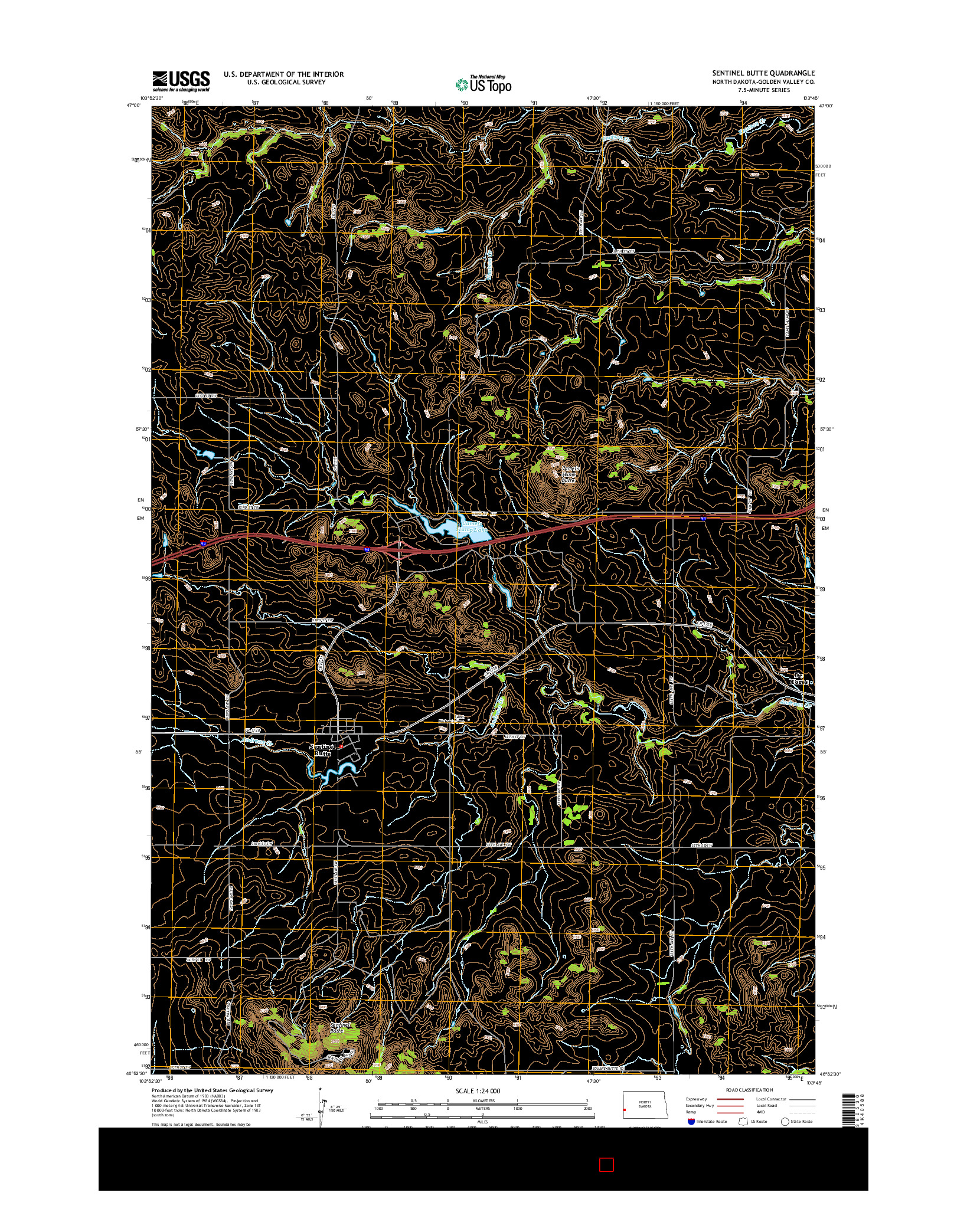 USGS US TOPO 7.5-MINUTE MAP FOR SENTINEL BUTTE, ND 2014