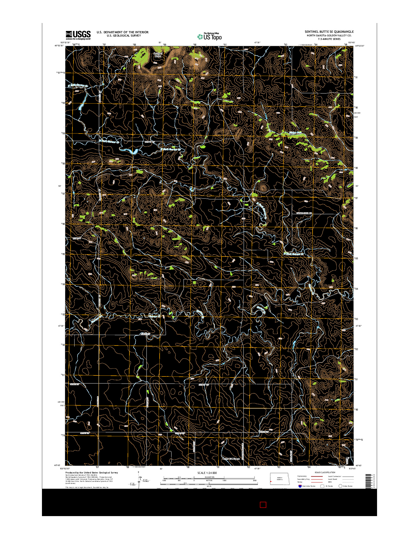 USGS US TOPO 7.5-MINUTE MAP FOR SENTINEL BUTTE SE, ND 2014
