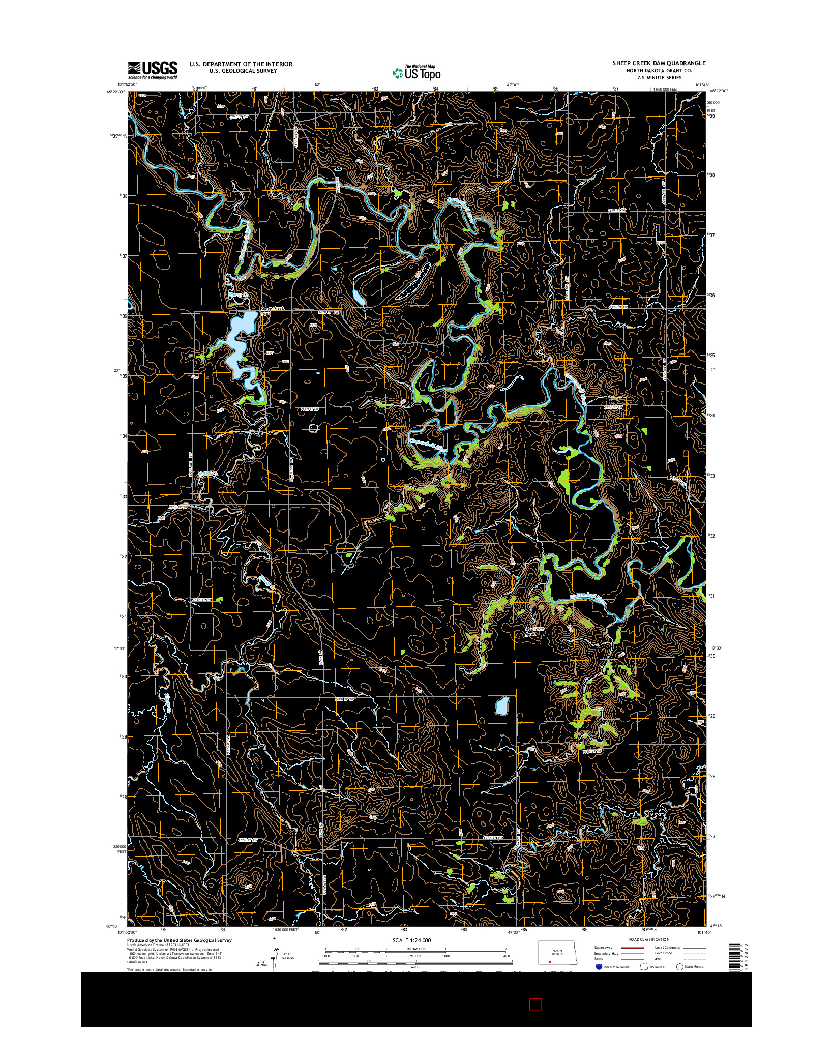 USGS US TOPO 7.5-MINUTE MAP FOR SHEEP CREEK DAM, ND 2014