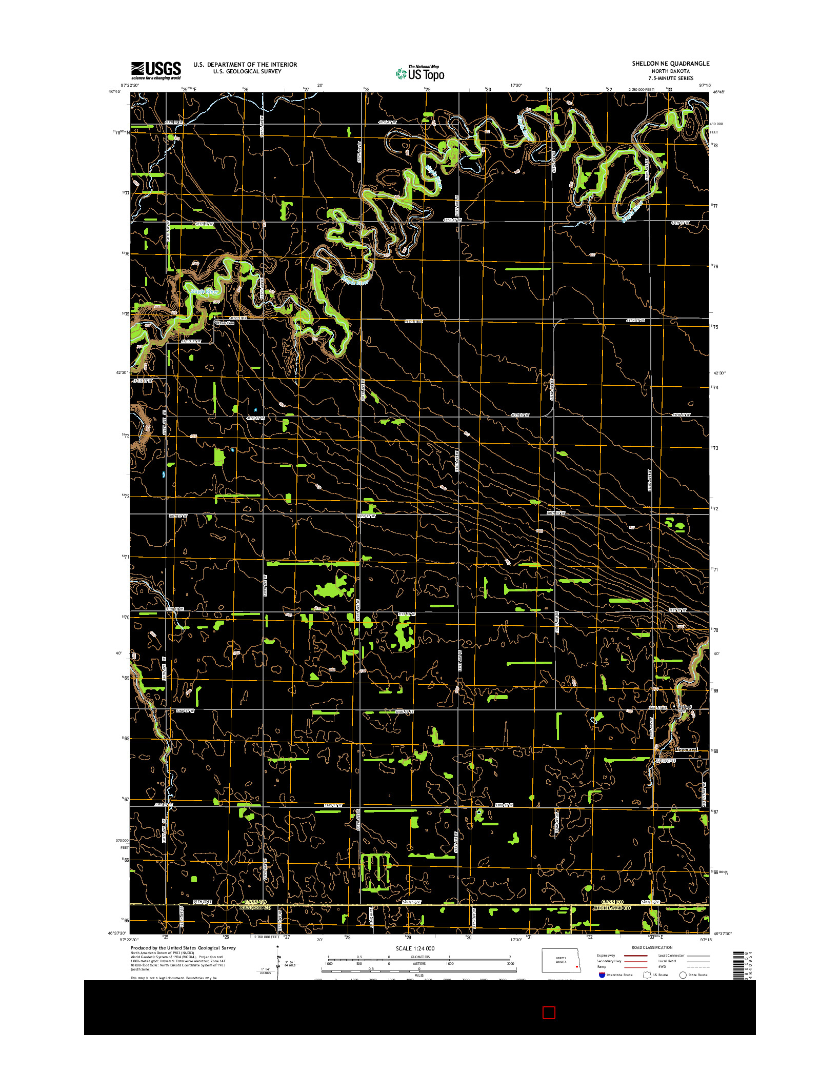 USGS US TOPO 7.5-MINUTE MAP FOR SHELDON NE, ND 2014