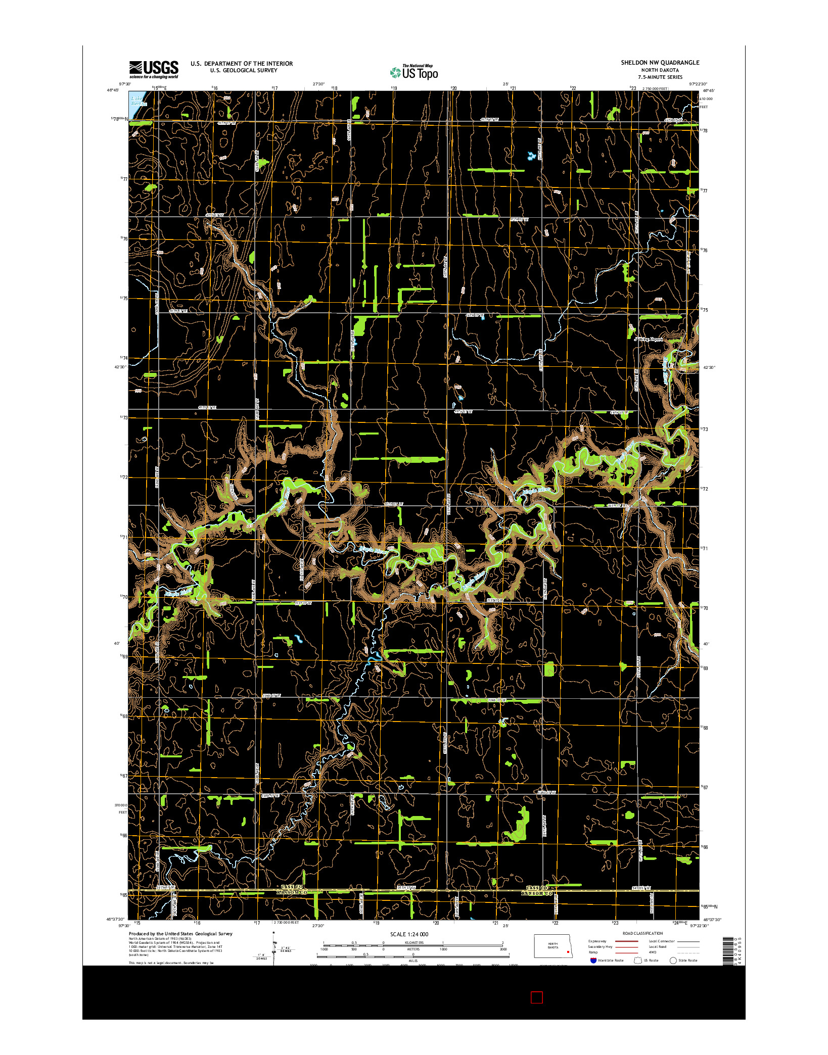 USGS US TOPO 7.5-MINUTE MAP FOR SHELDON NW, ND 2014