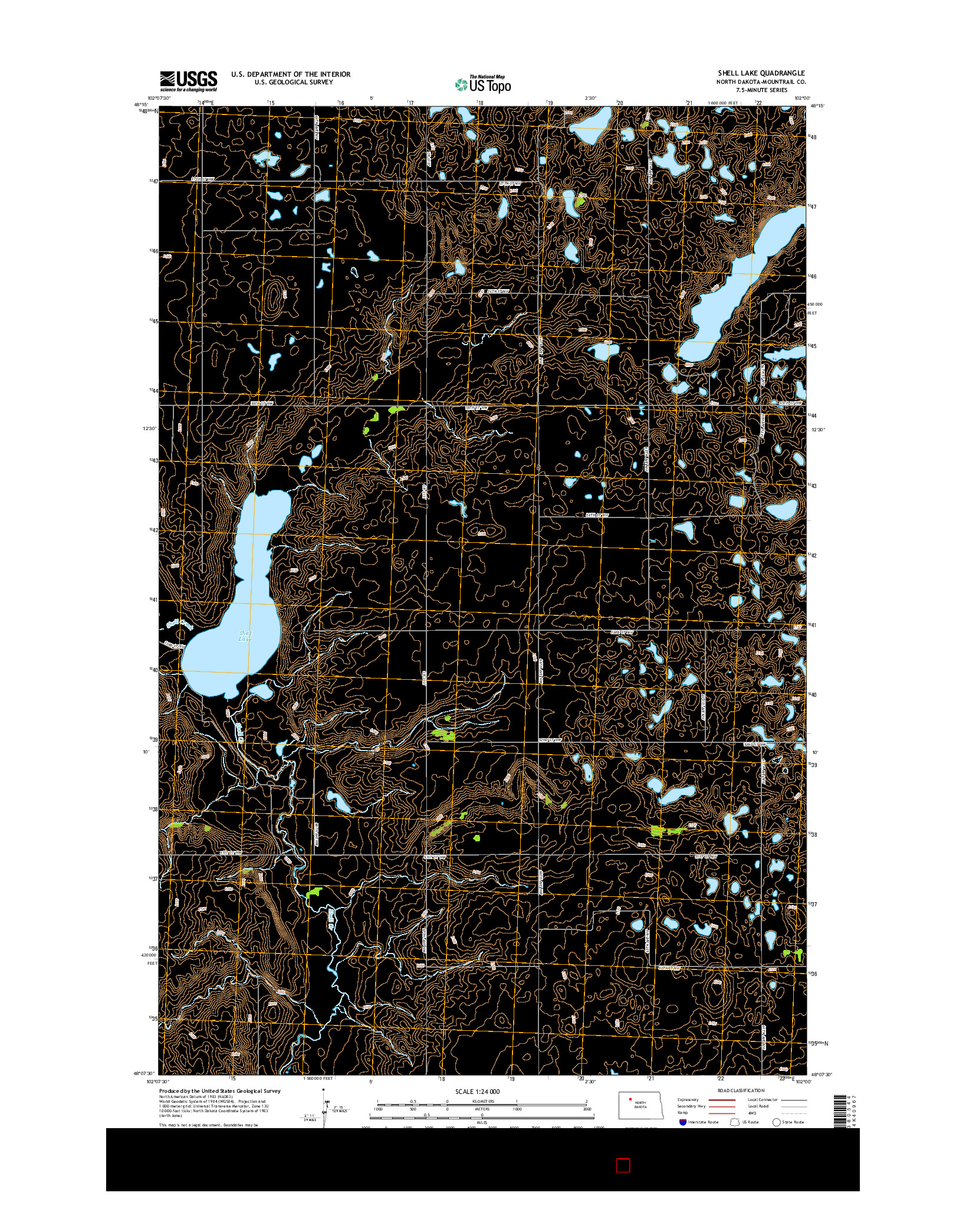 USGS US TOPO 7.5-MINUTE MAP FOR SHELL LAKE, ND 2014