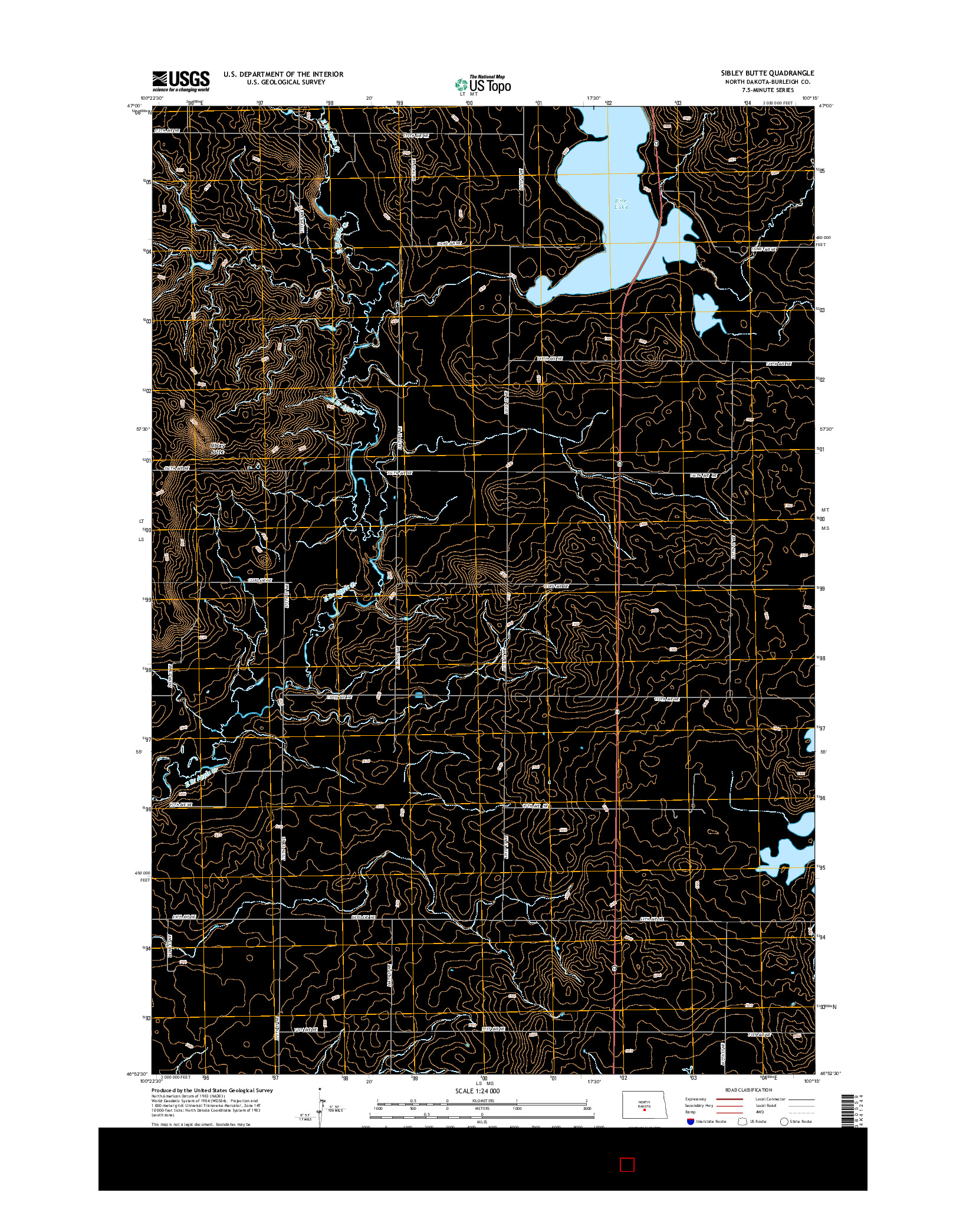 USGS US TOPO 7.5-MINUTE MAP FOR SIBLEY BUTTE, ND 2014