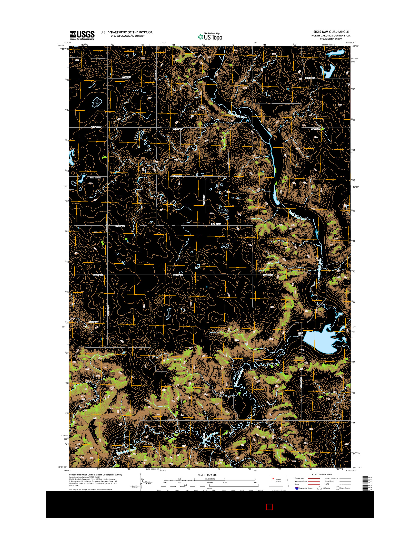 USGS US TOPO 7.5-MINUTE MAP FOR SIKES DAM, ND 2014