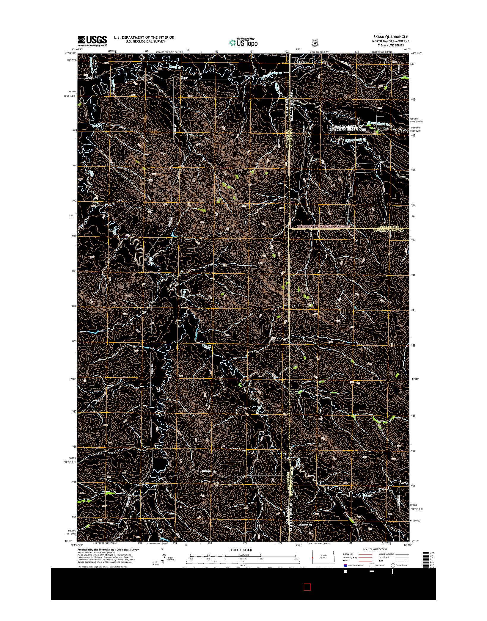 USGS US TOPO 7.5-MINUTE MAP FOR SKAAR, ND-MT 2014