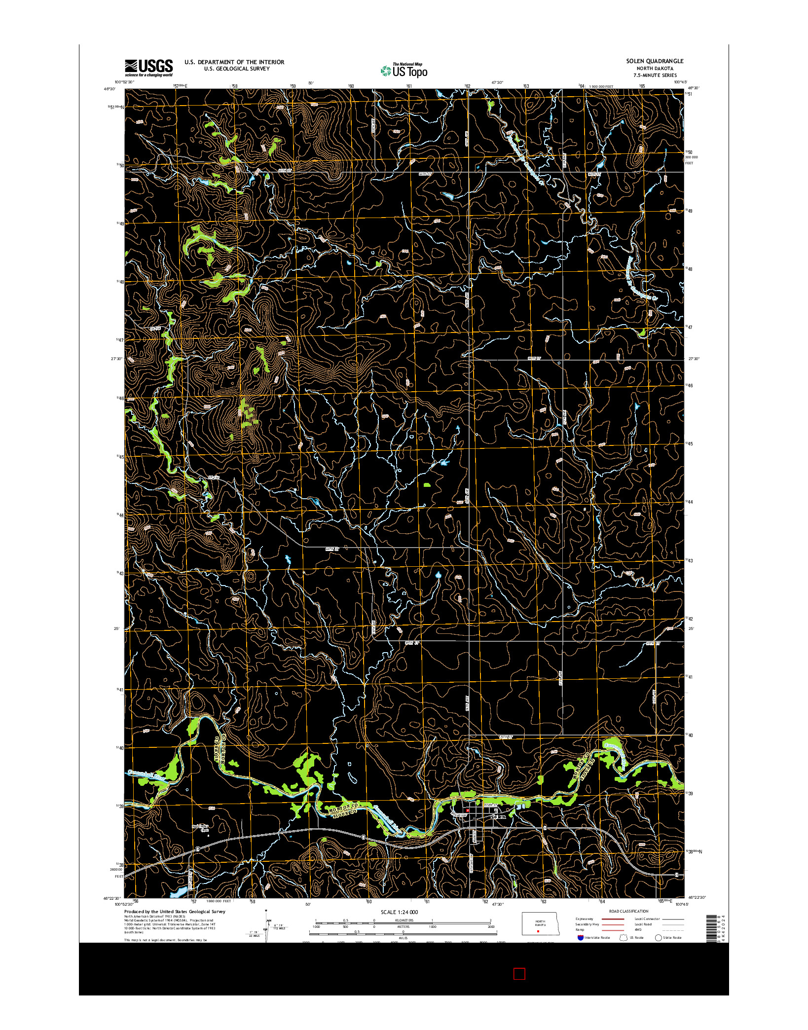 USGS US TOPO 7.5-MINUTE MAP FOR SOLEN, ND 2014