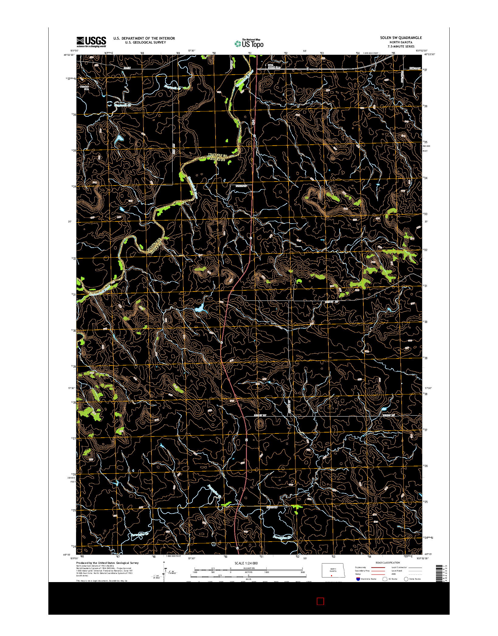 USGS US TOPO 7.5-MINUTE MAP FOR SOLEN SW, ND 2014