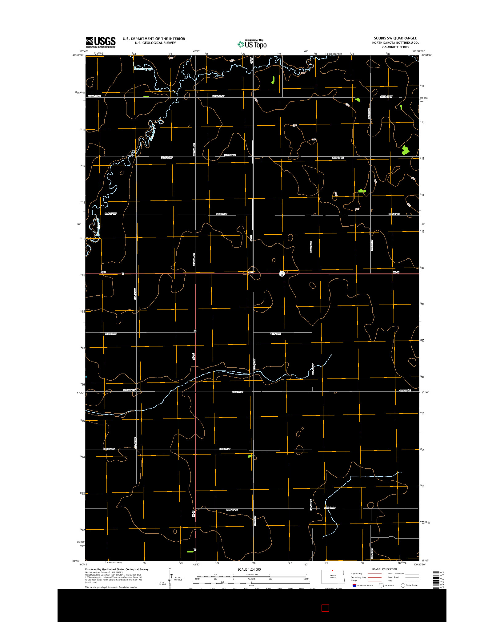 USGS US TOPO 7.5-MINUTE MAP FOR SOURIS SW, ND 2014