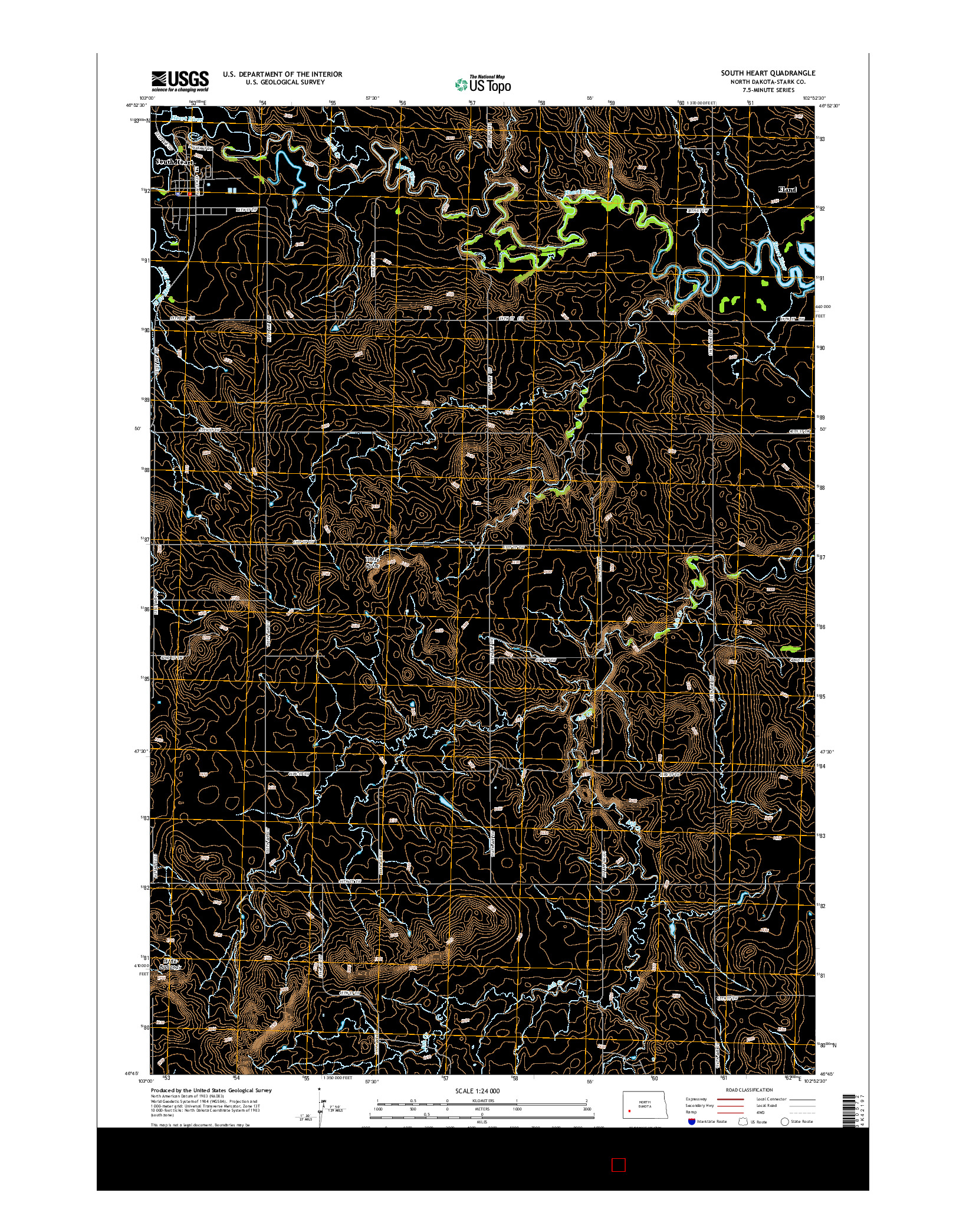 USGS US TOPO 7.5-MINUTE MAP FOR SOUTH HEART, ND 2014