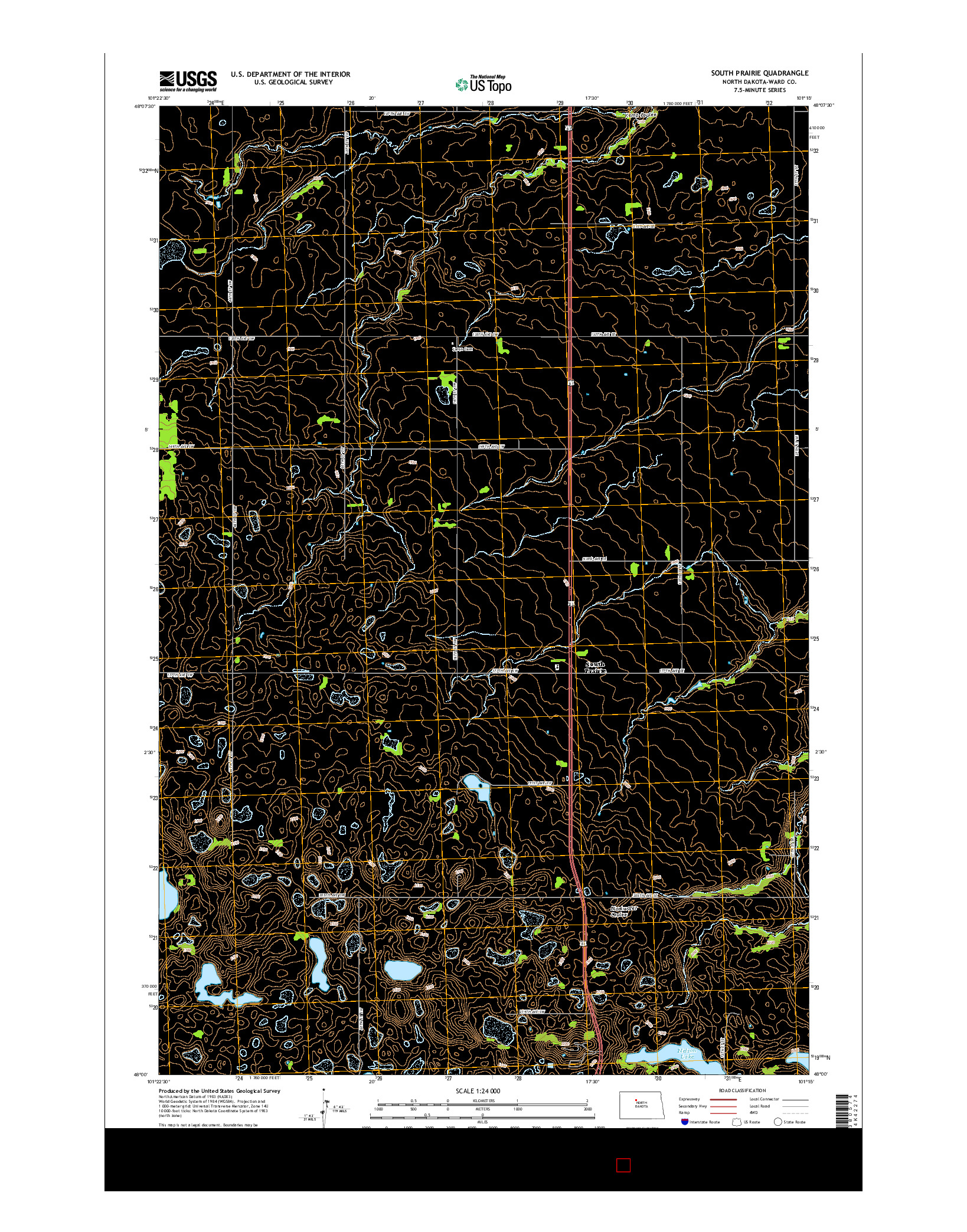 USGS US TOPO 7.5-MINUTE MAP FOR SOUTH PRAIRIE, ND 2014