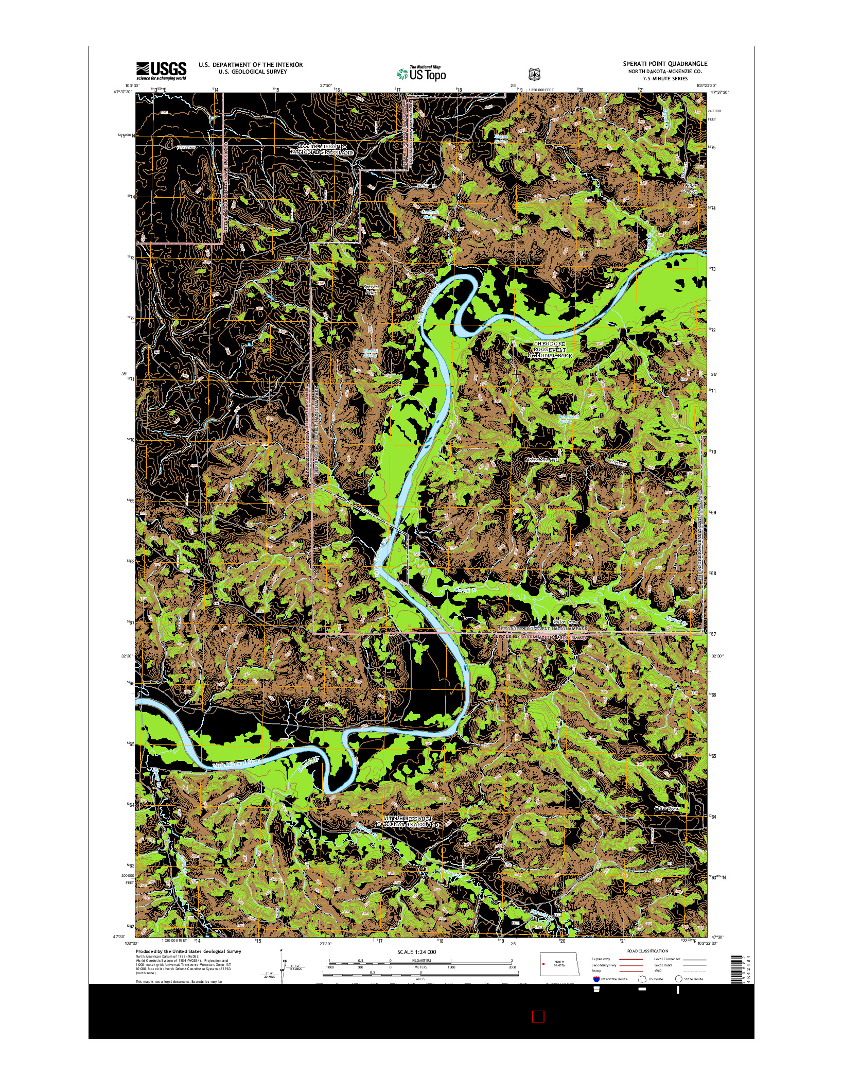 USGS US TOPO 7.5-MINUTE MAP FOR SPERATI POINT, ND 2014
