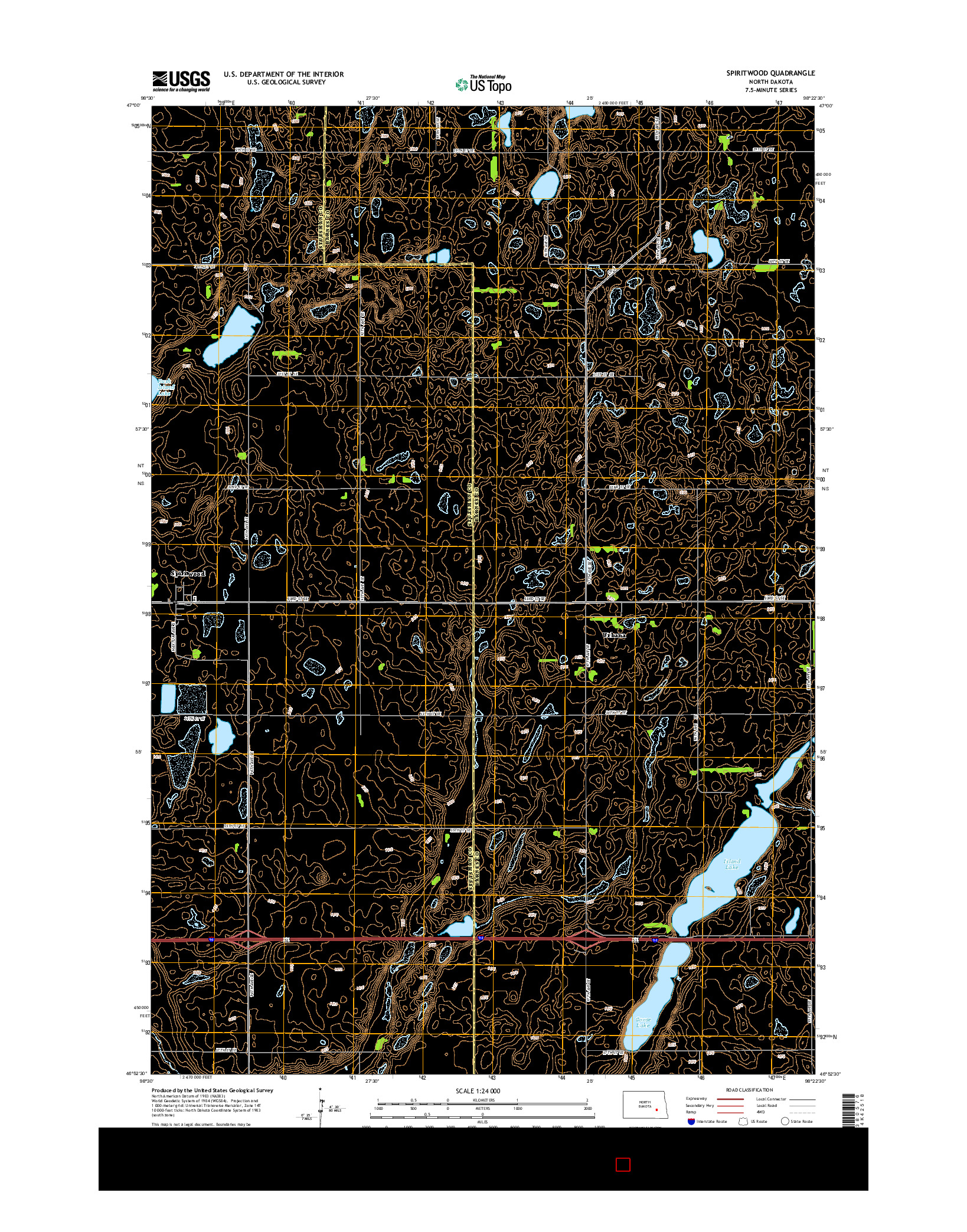 USGS US TOPO 7.5-MINUTE MAP FOR SPIRITWOOD, ND 2014