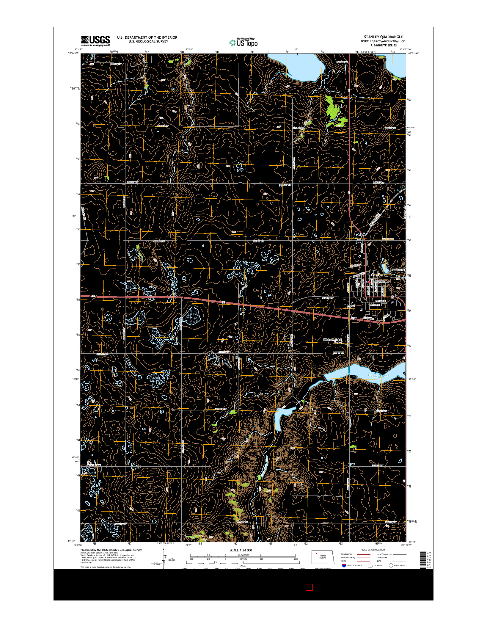 USGS US TOPO 7.5-MINUTE MAP FOR STANLEY, ND 2014