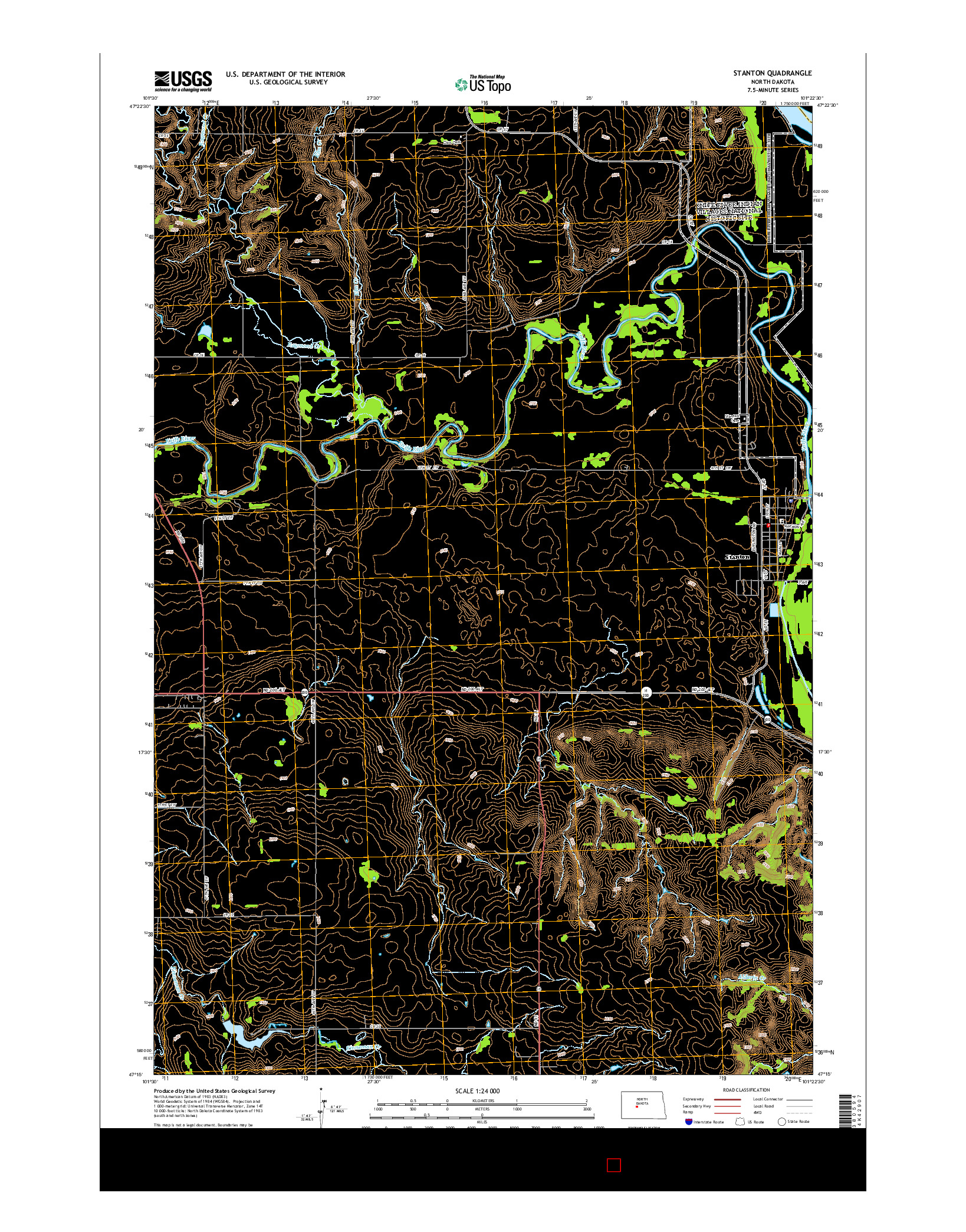 USGS US TOPO 7.5-MINUTE MAP FOR STANTON, ND 2014