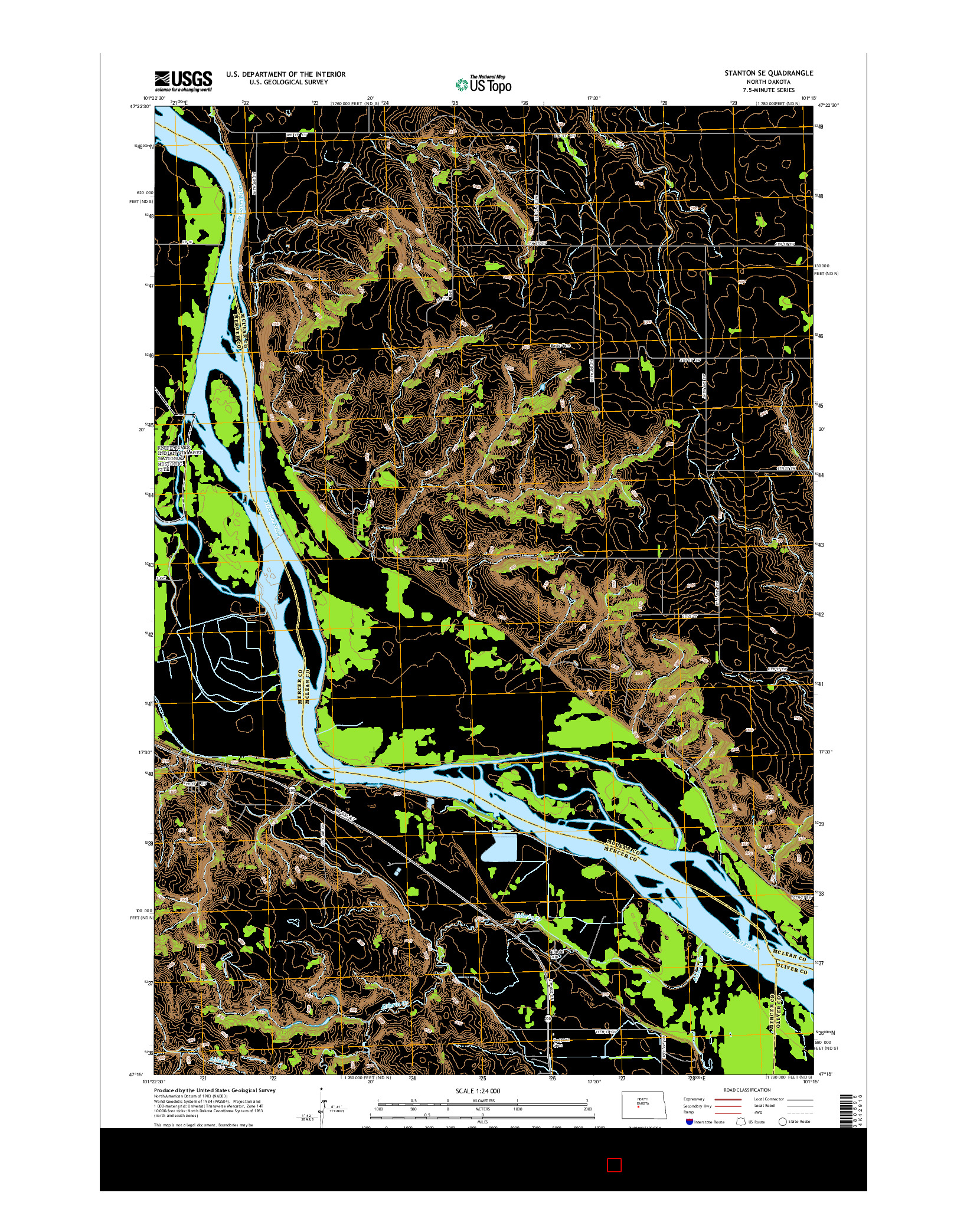USGS US TOPO 7.5-MINUTE MAP FOR STANTON SE, ND 2014