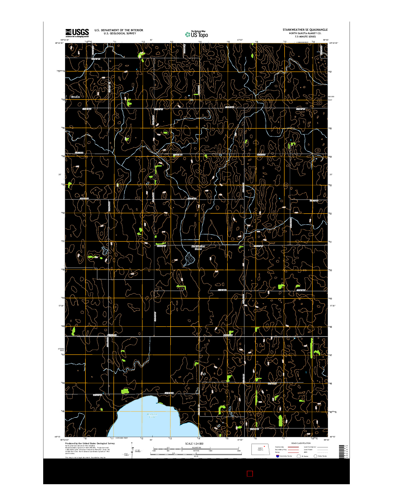 USGS US TOPO 7.5-MINUTE MAP FOR STARKWEATHER SE, ND 2014