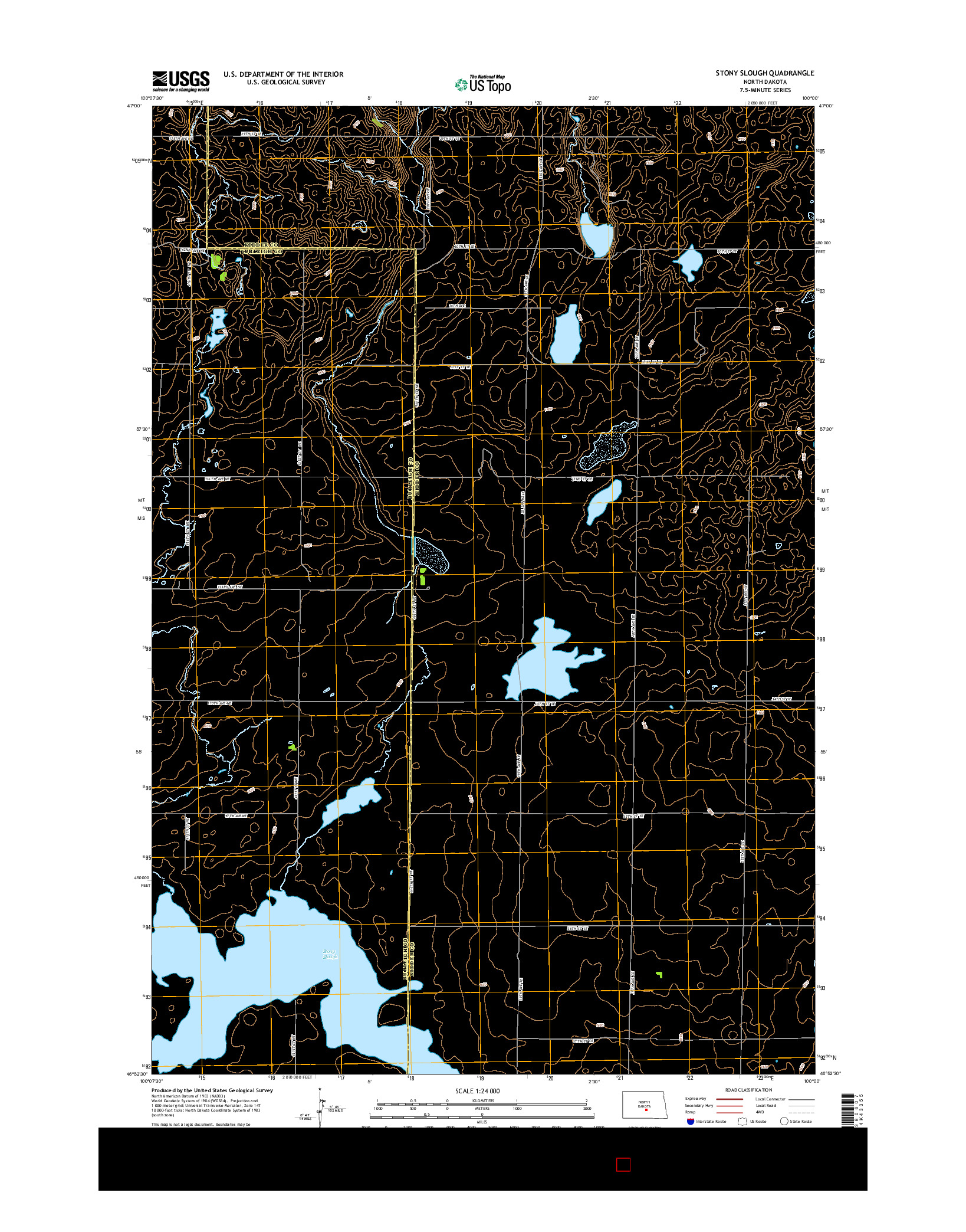 USGS US TOPO 7.5-MINUTE MAP FOR STONY SLOUGH, ND 2014
