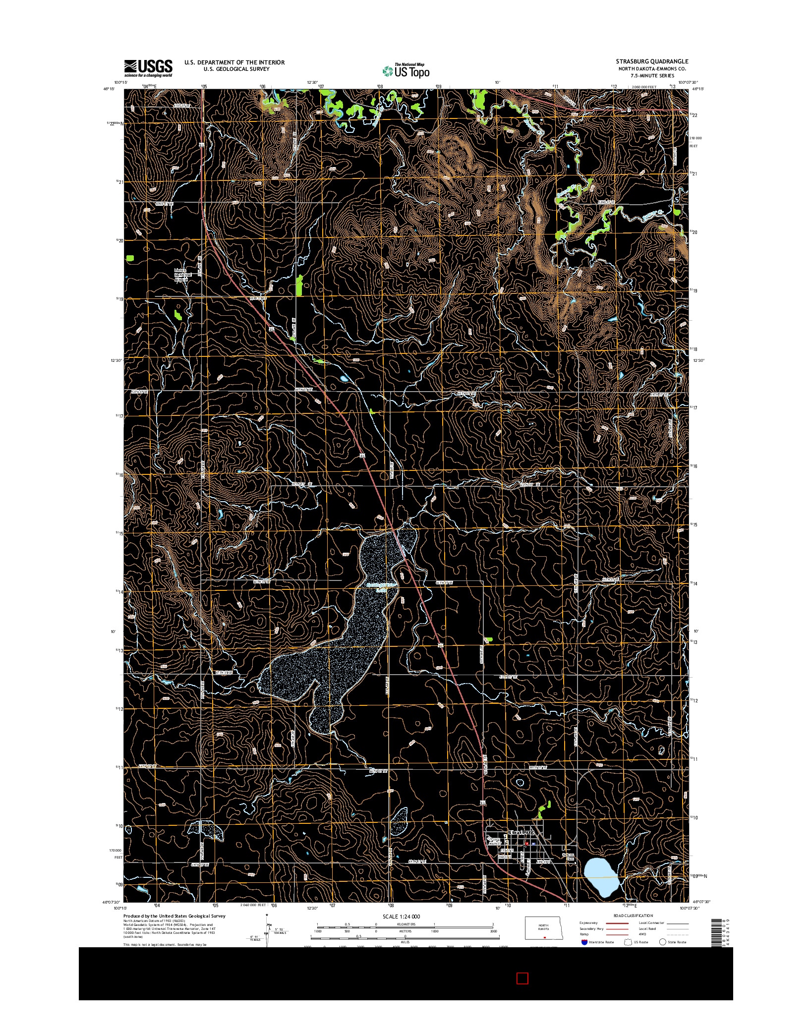 USGS US TOPO 7.5-MINUTE MAP FOR STRASBURG, ND 2014