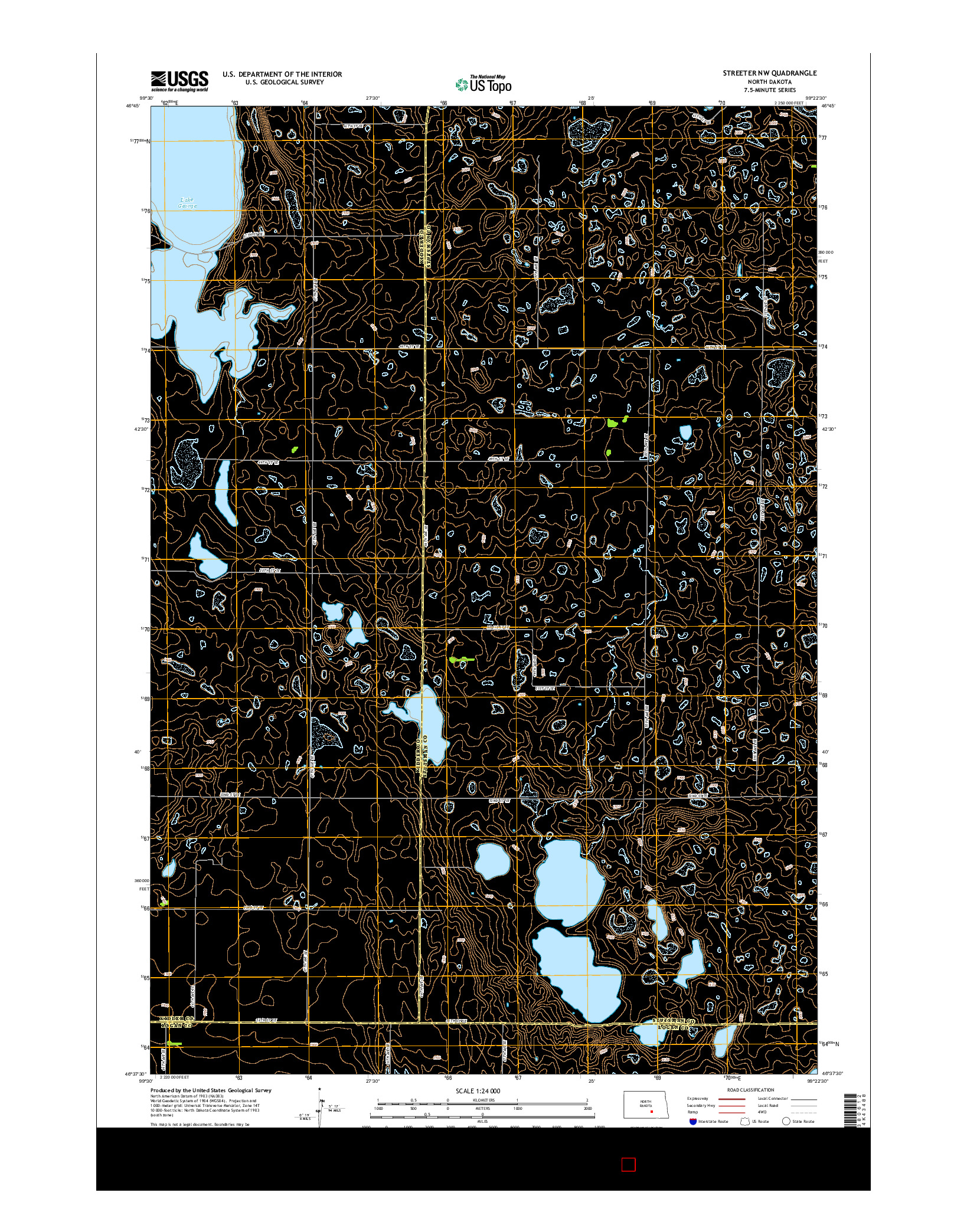 USGS US TOPO 7.5-MINUTE MAP FOR STREETER NW, ND 2014