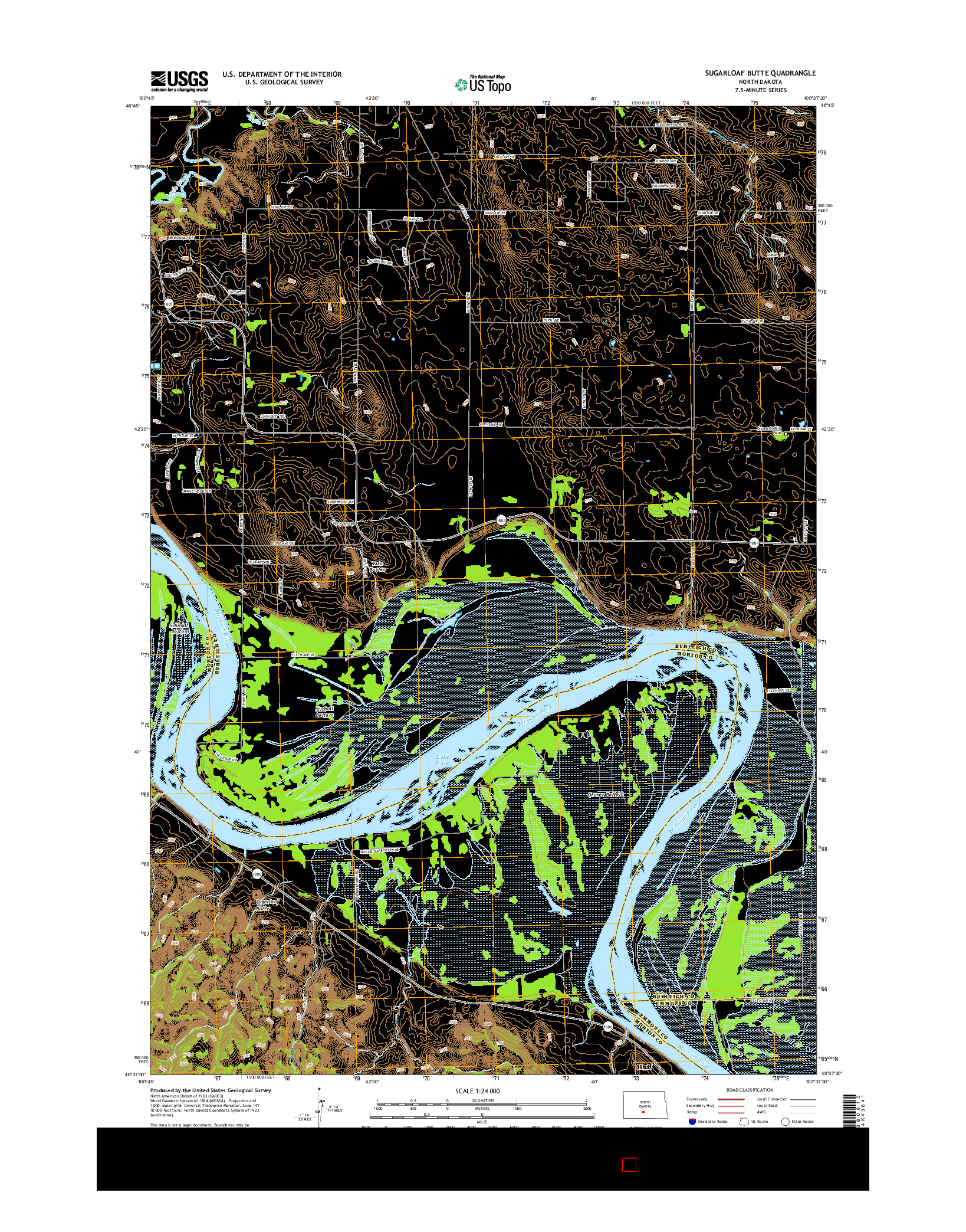 USGS US TOPO 7.5-MINUTE MAP FOR SUGARLOAF BUTTE, ND 2014