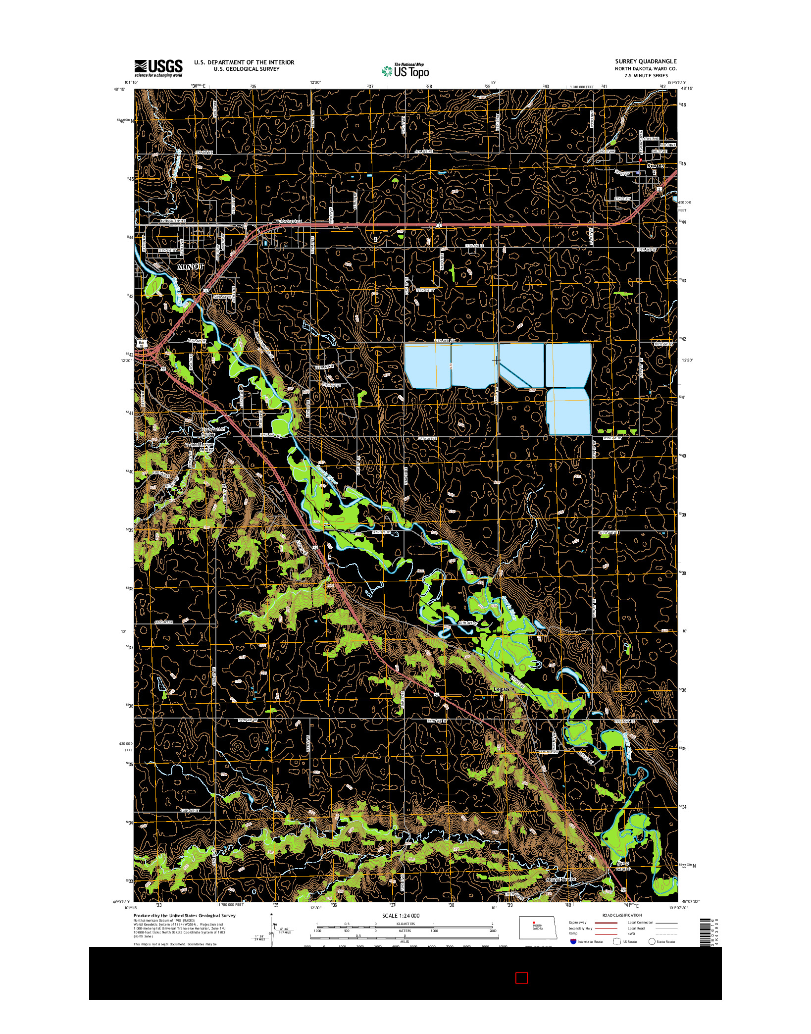 USGS US TOPO 7.5-MINUTE MAP FOR SURREY, ND 2014