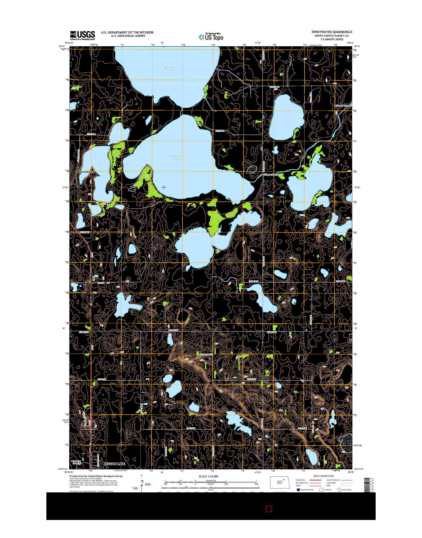 USGS US TOPO 7.5-MINUTE MAP FOR SWEETWATER, ND 2014