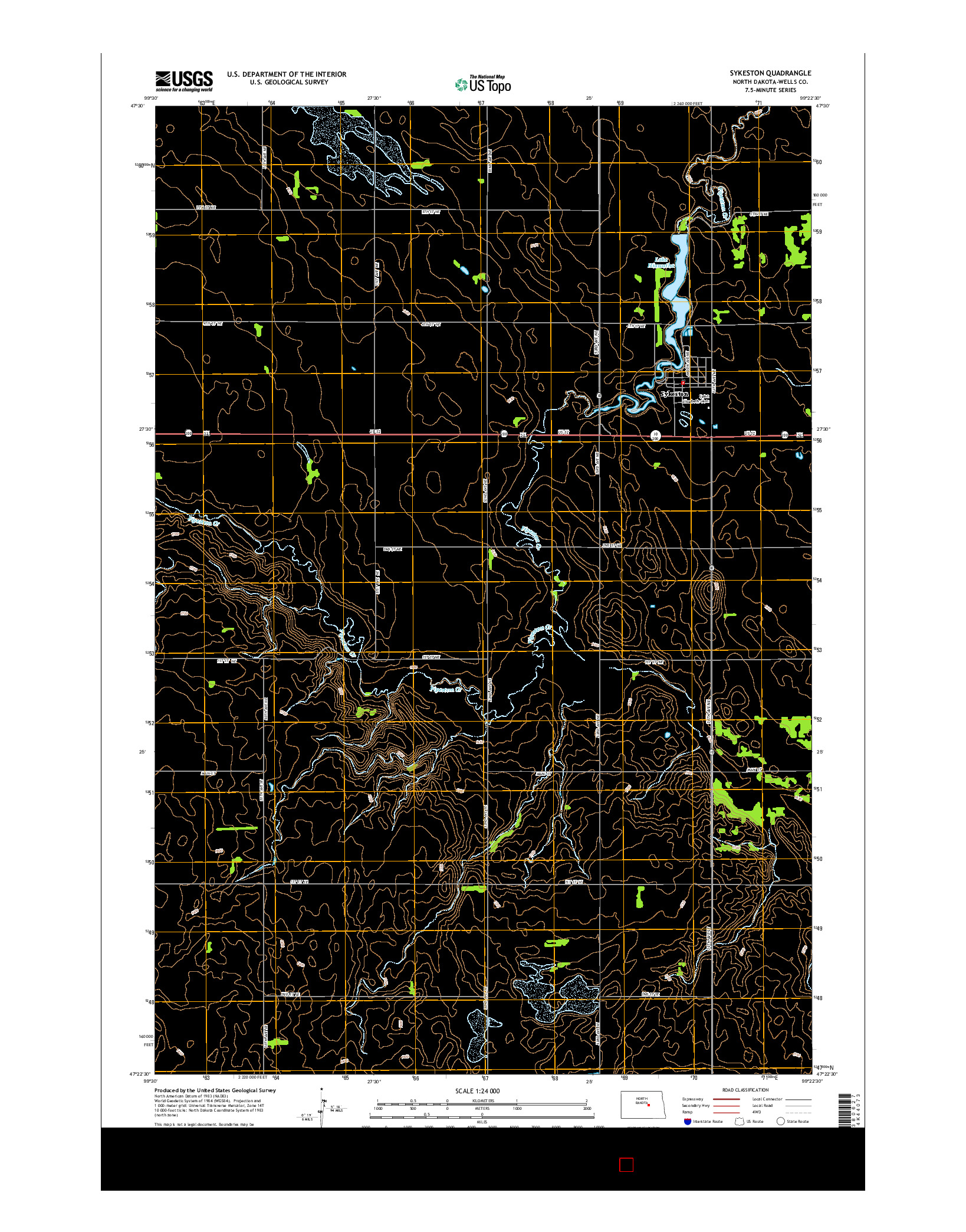 USGS US TOPO 7.5-MINUTE MAP FOR SYKESTON, ND 2014
