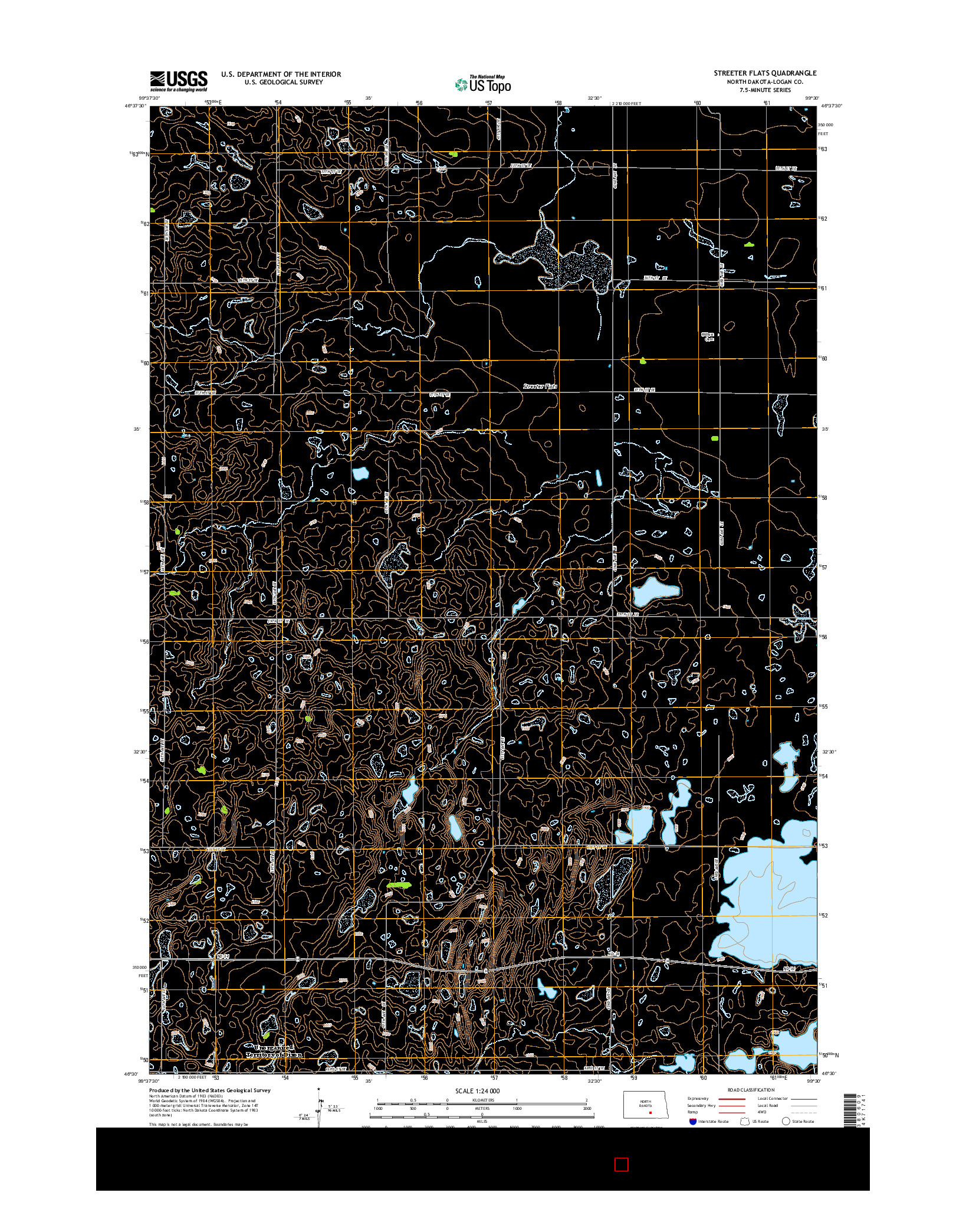 USGS US TOPO 7.5-MINUTE MAP FOR STREETER FLATS, ND 2014