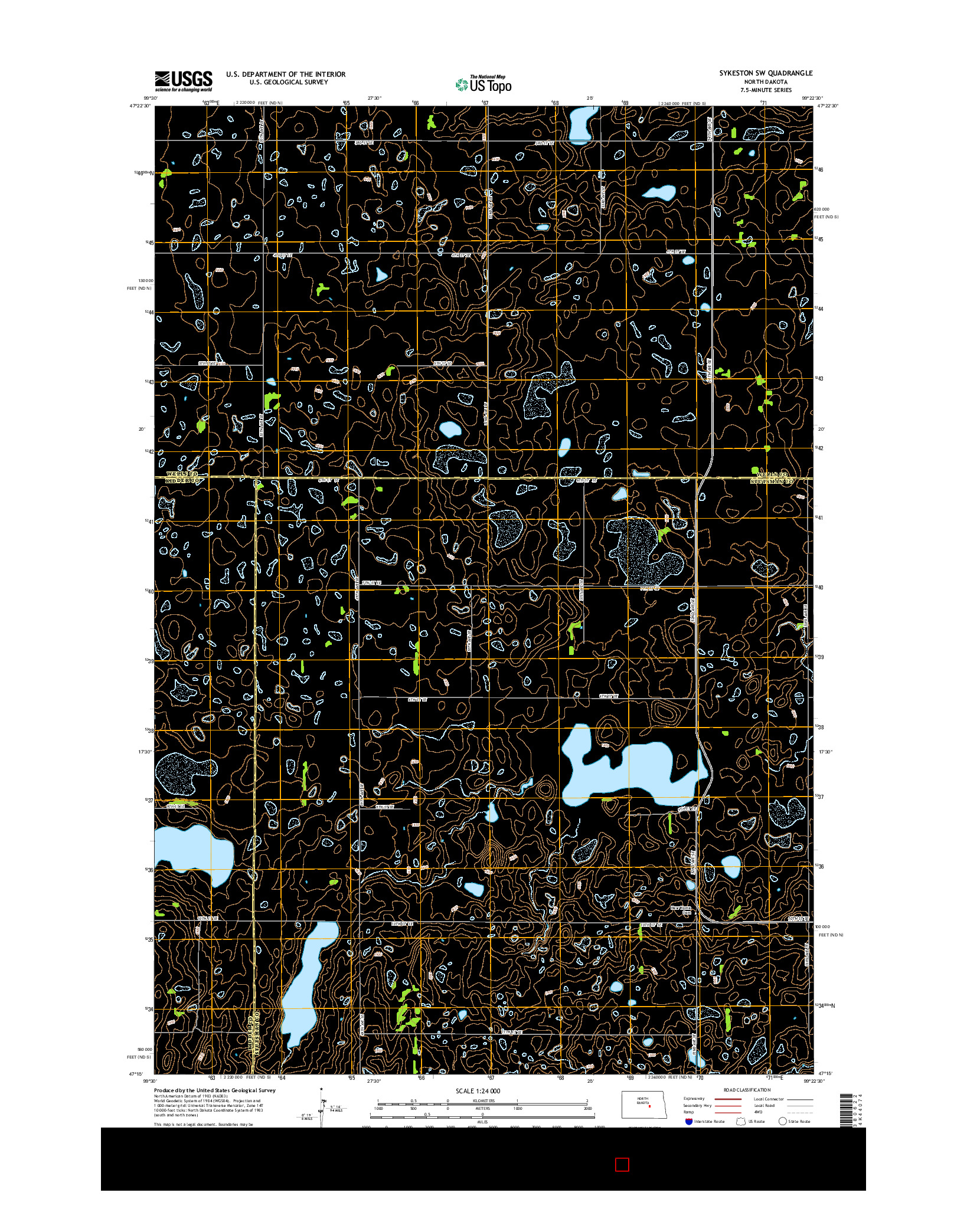 USGS US TOPO 7.5-MINUTE MAP FOR SYKESTON SW, ND 2014