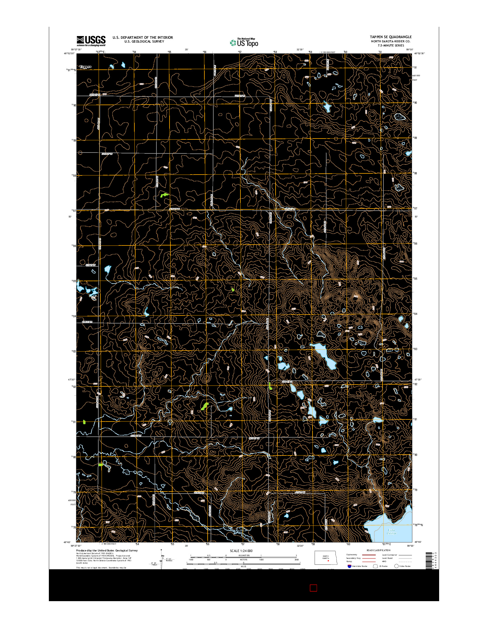 USGS US TOPO 7.5-MINUTE MAP FOR TAPPEN SE, ND 2014