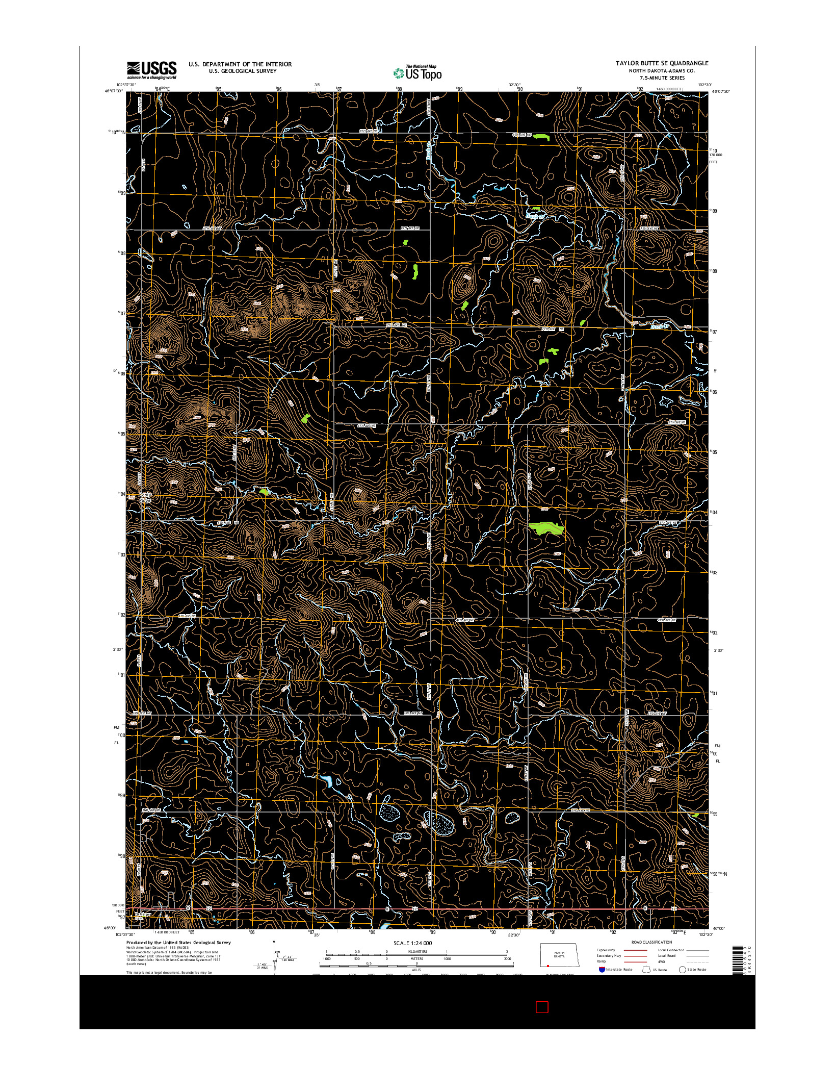 USGS US TOPO 7.5-MINUTE MAP FOR TAYLOR BUTTE SE, ND 2014