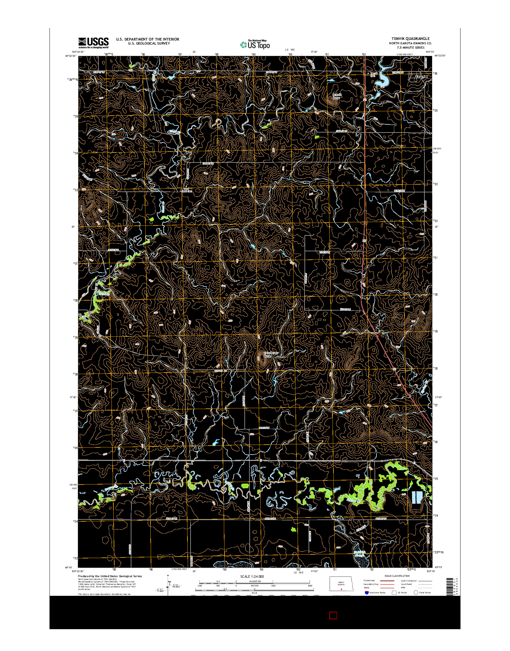 USGS US TOPO 7.5-MINUTE MAP FOR TEMVIK, ND 2014