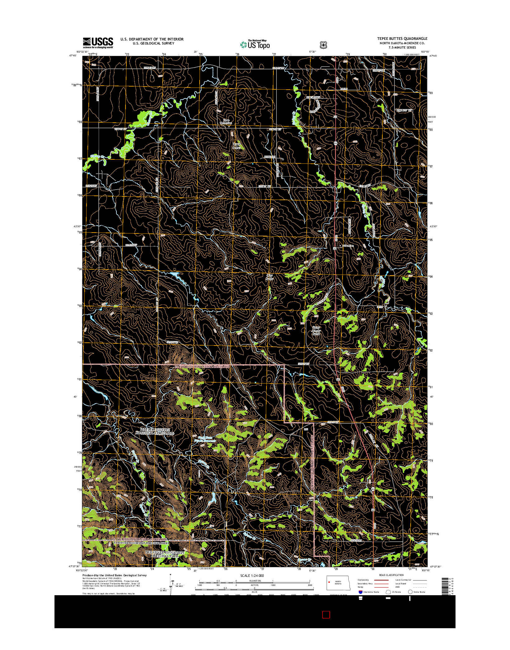 USGS US TOPO 7.5-MINUTE MAP FOR TEPEE BUTTES, ND 2014