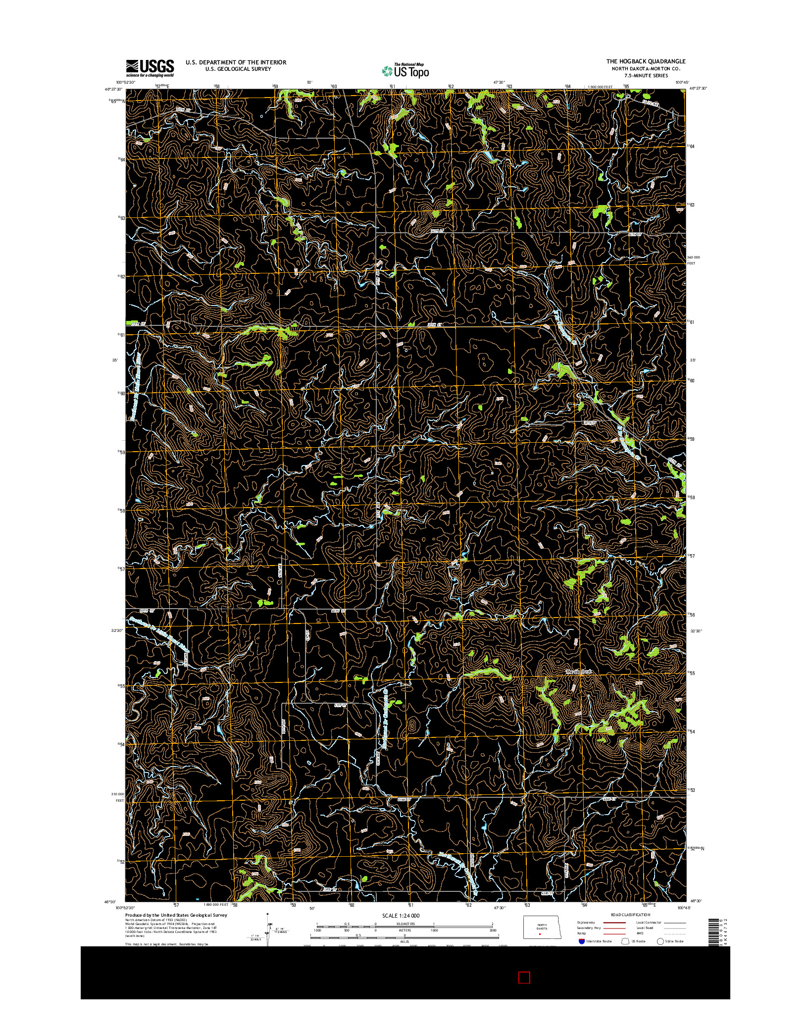 USGS US TOPO 7.5-MINUTE MAP FOR THE HOGBACK, ND 2014
