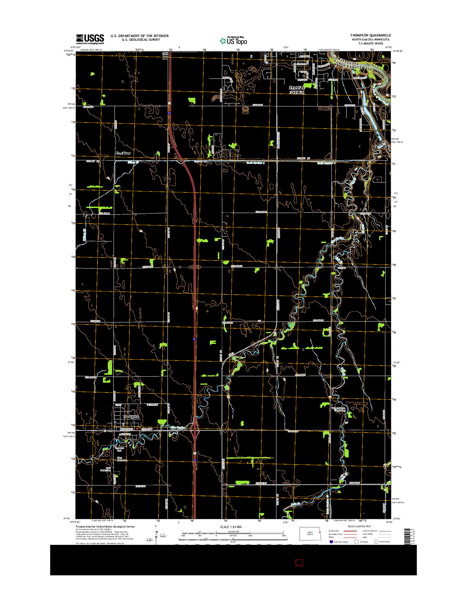 USGS US TOPO 7.5-MINUTE MAP FOR THOMPSON, ND-MN 2014