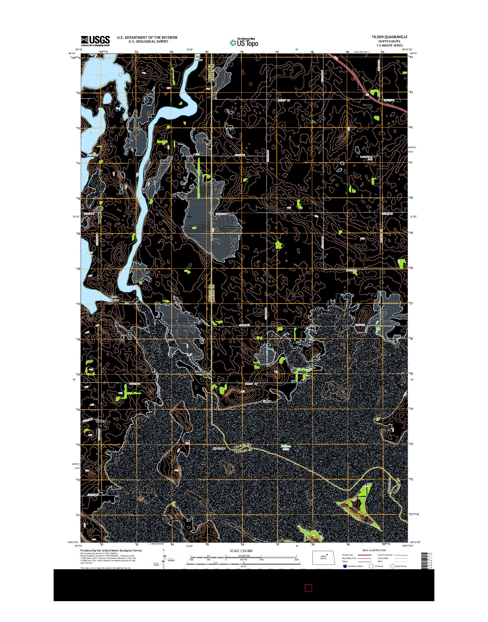 USGS US TOPO 7.5-MINUTE MAP FOR TILDEN, ND 2014