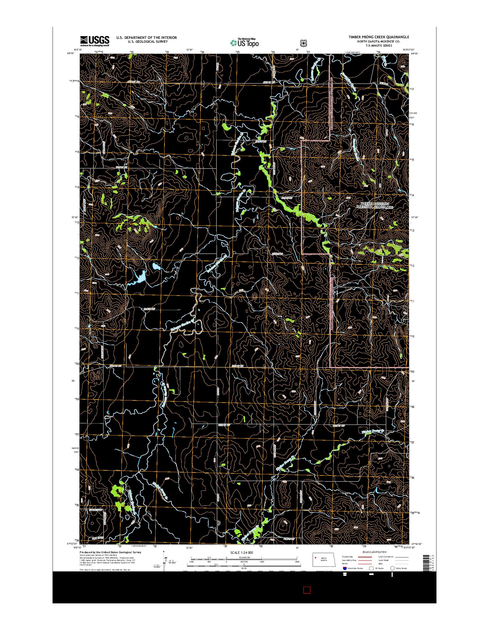 USGS US TOPO 7.5-MINUTE MAP FOR TIMBER PRONG CREEK, ND 2014