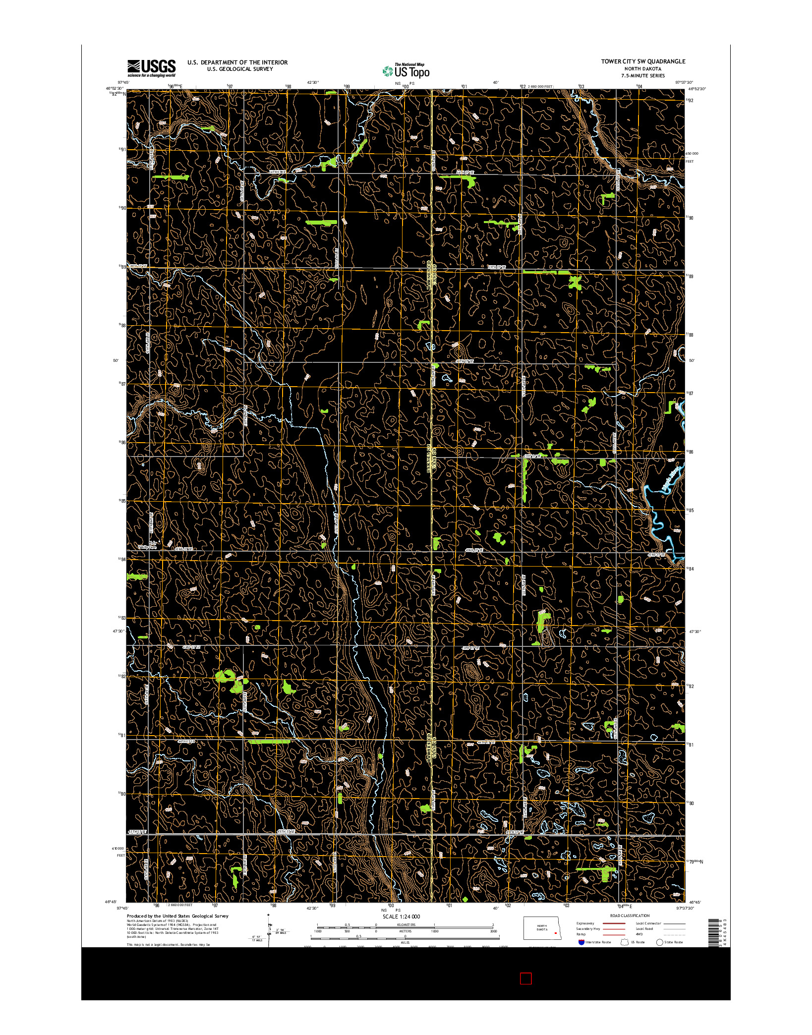 USGS US TOPO 7.5-MINUTE MAP FOR TOWER CITY SW, ND 2014