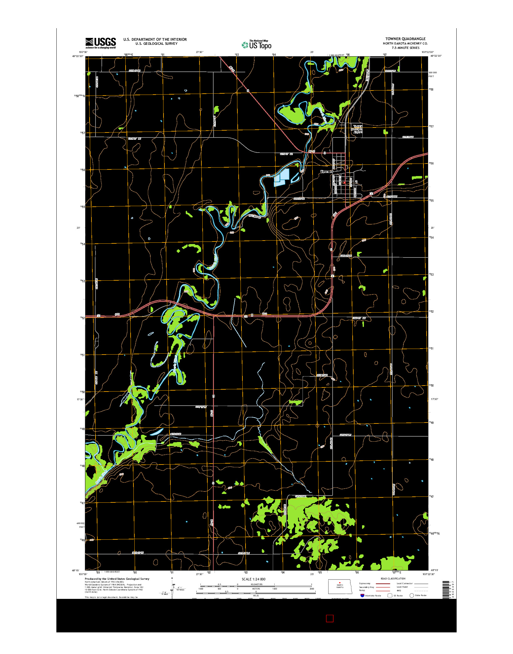 USGS US TOPO 7.5-MINUTE MAP FOR TOWNER, ND 2014