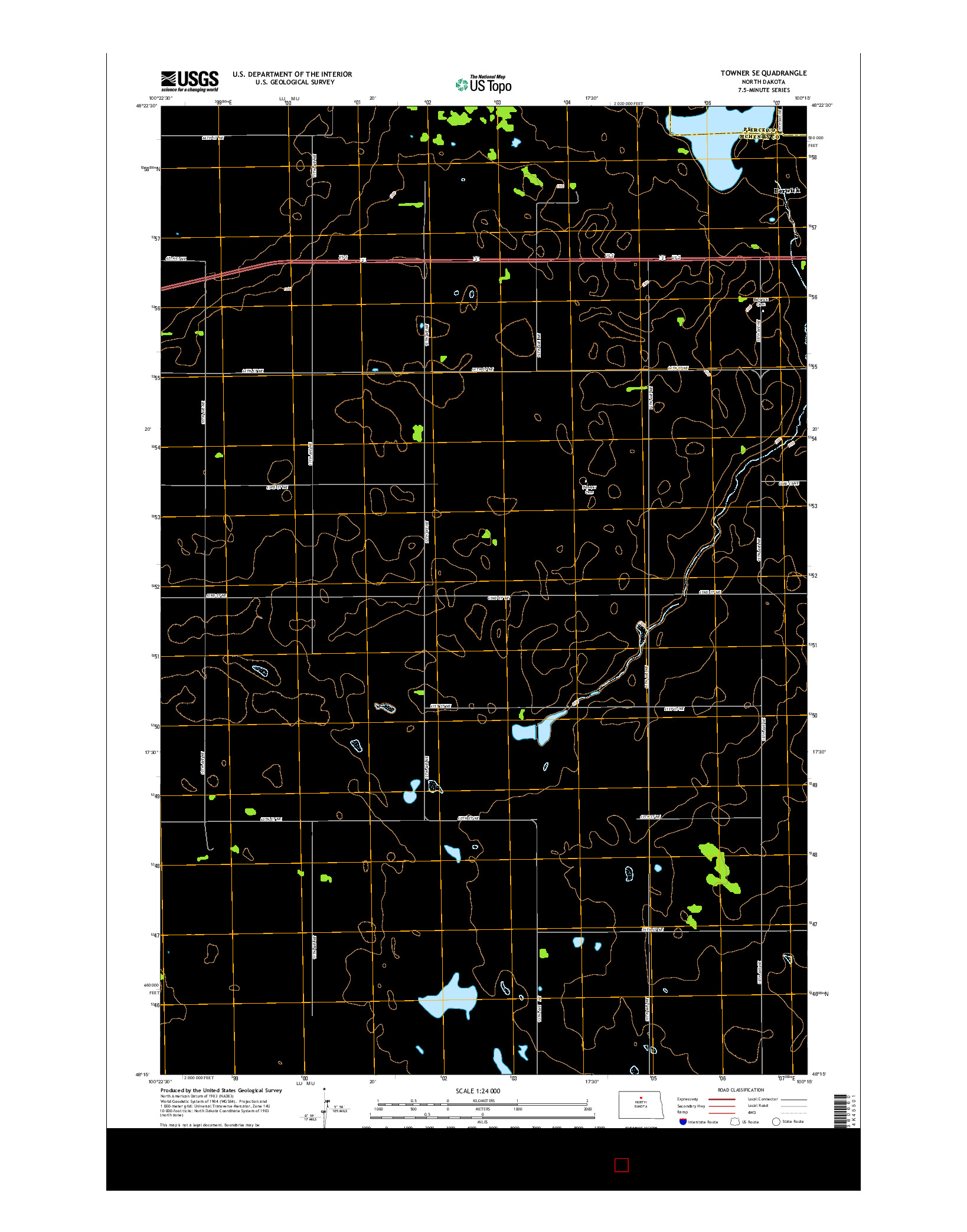 USGS US TOPO 7.5-MINUTE MAP FOR TOWNER SE, ND 2014