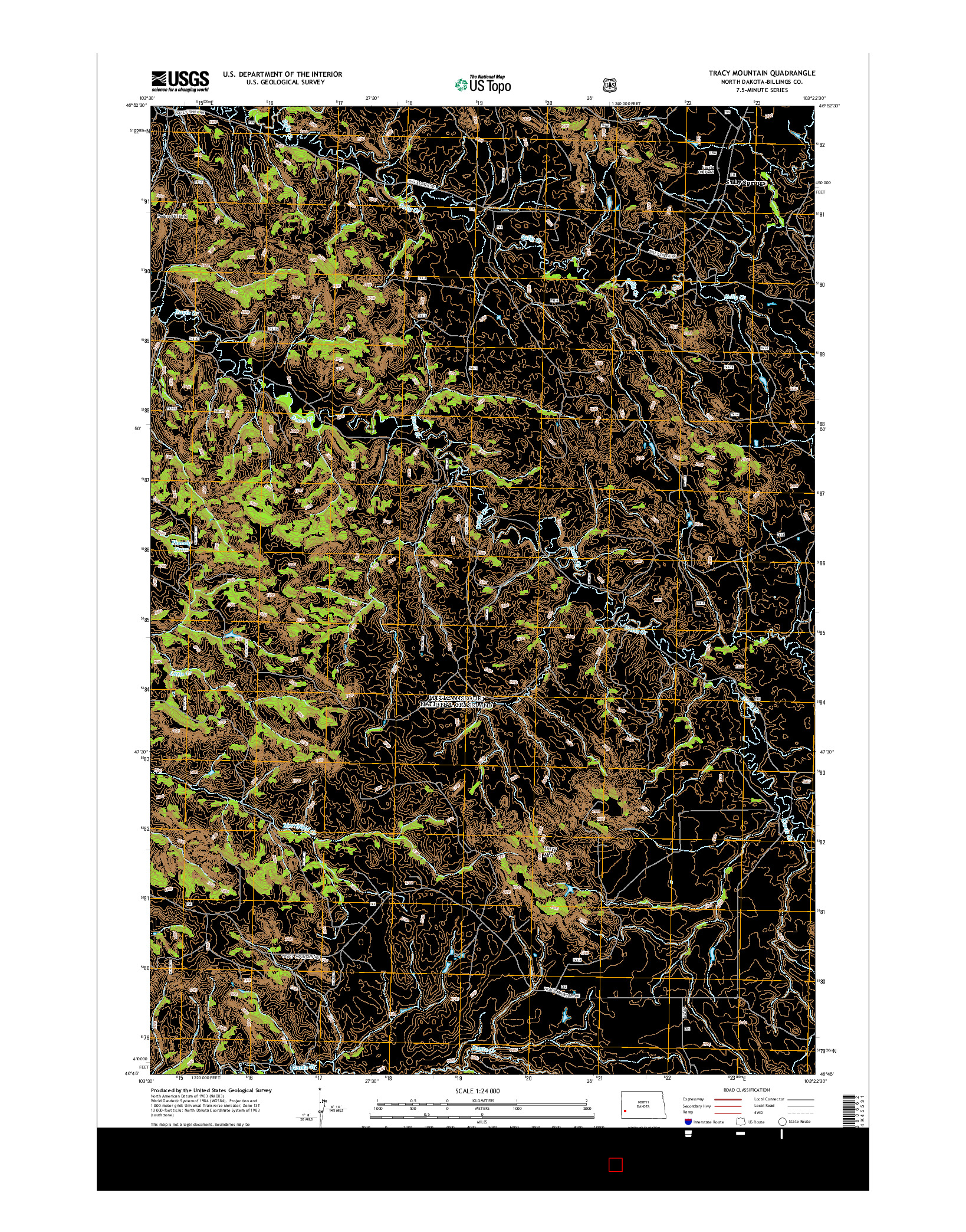 USGS US TOPO 7.5-MINUTE MAP FOR TRACY MOUNTAIN, ND 2014