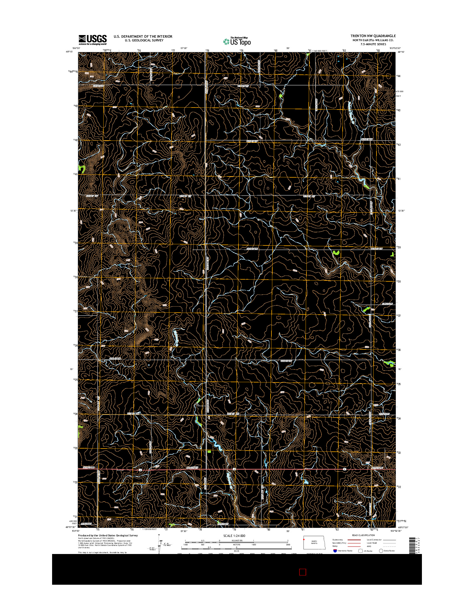 USGS US TOPO 7.5-MINUTE MAP FOR TRENTON NW, ND 2014