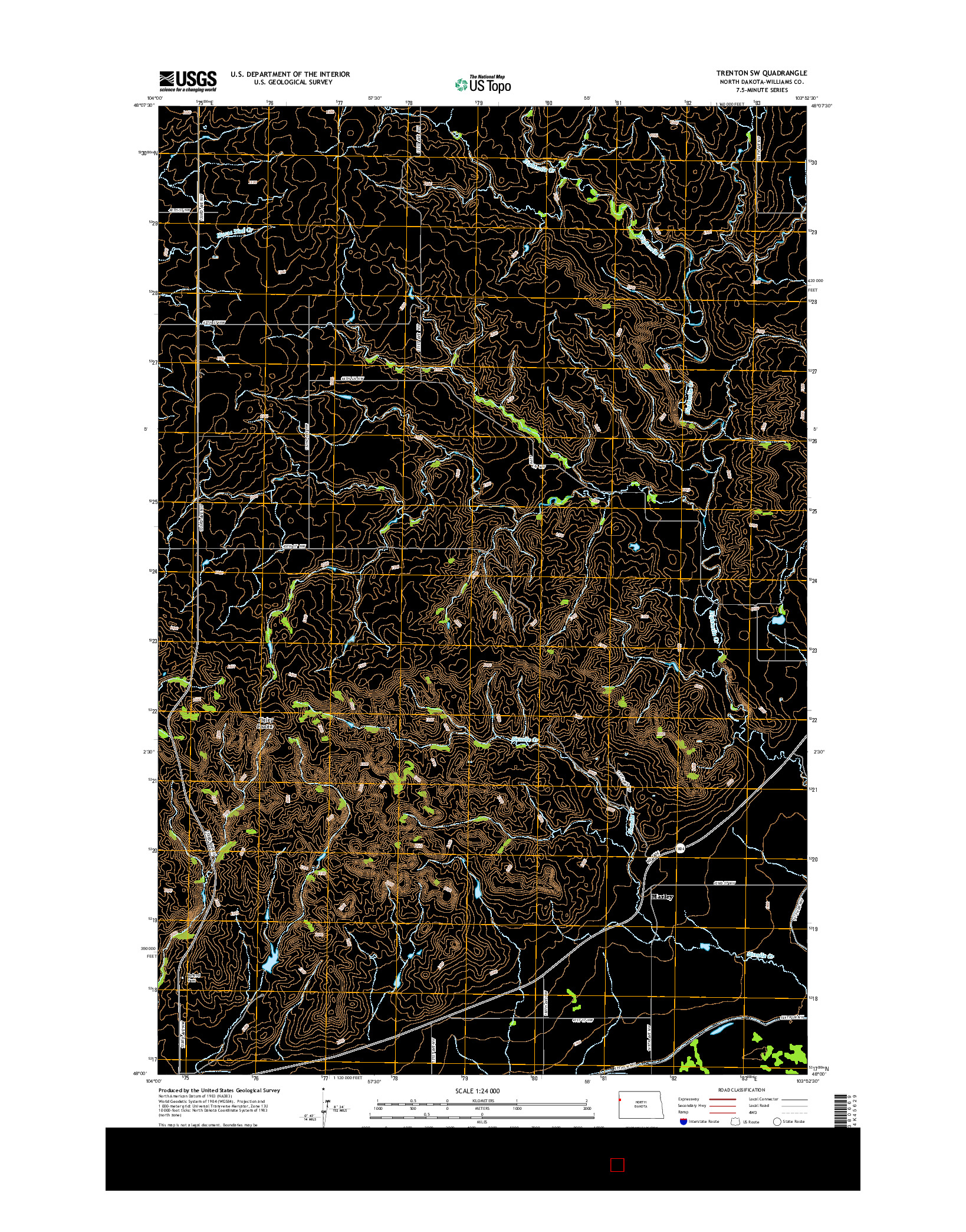 USGS US TOPO 7.5-MINUTE MAP FOR TRENTON SW, ND 2014