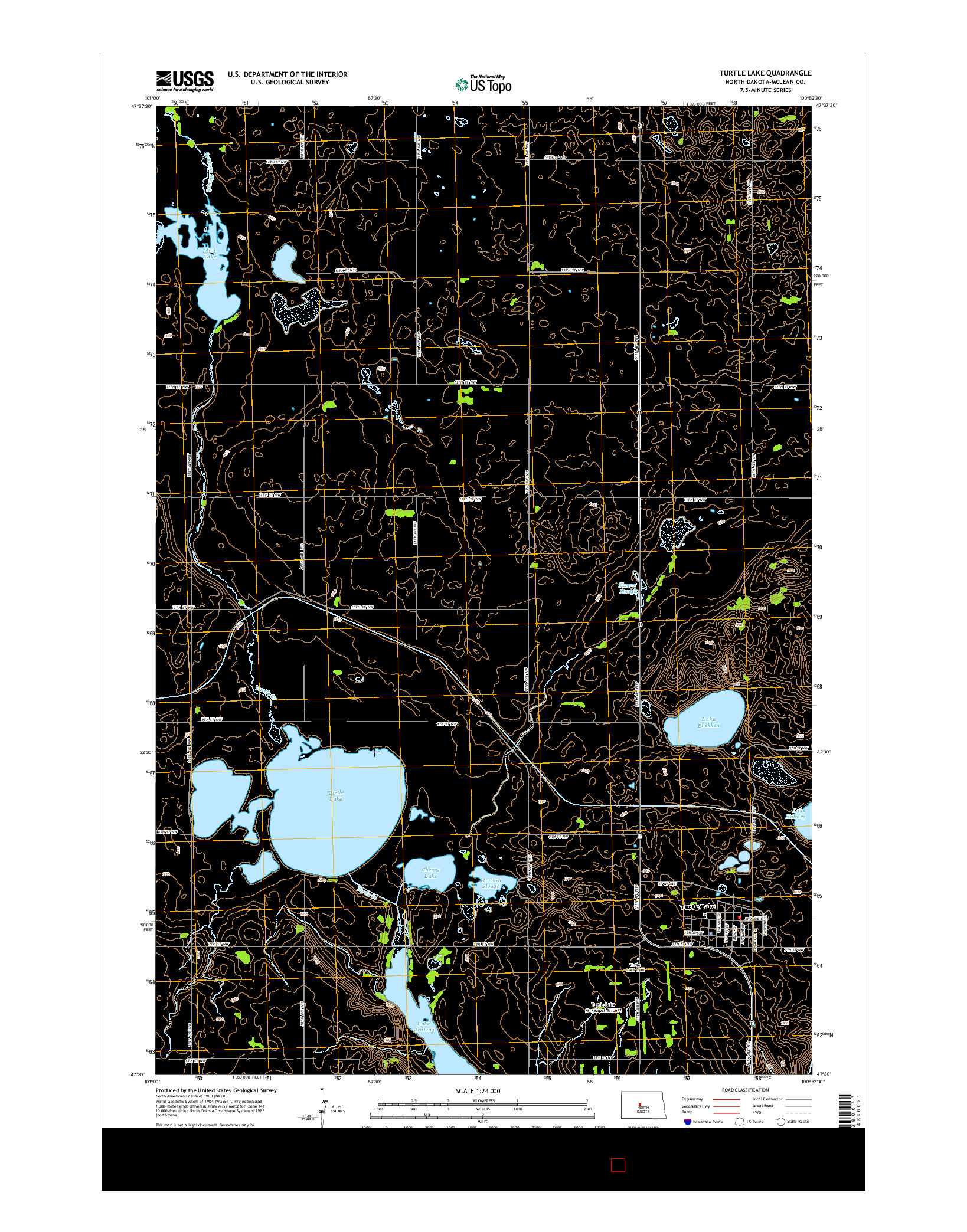 USGS US TOPO 7.5-MINUTE MAP FOR TURTLE LAKE, ND 2014