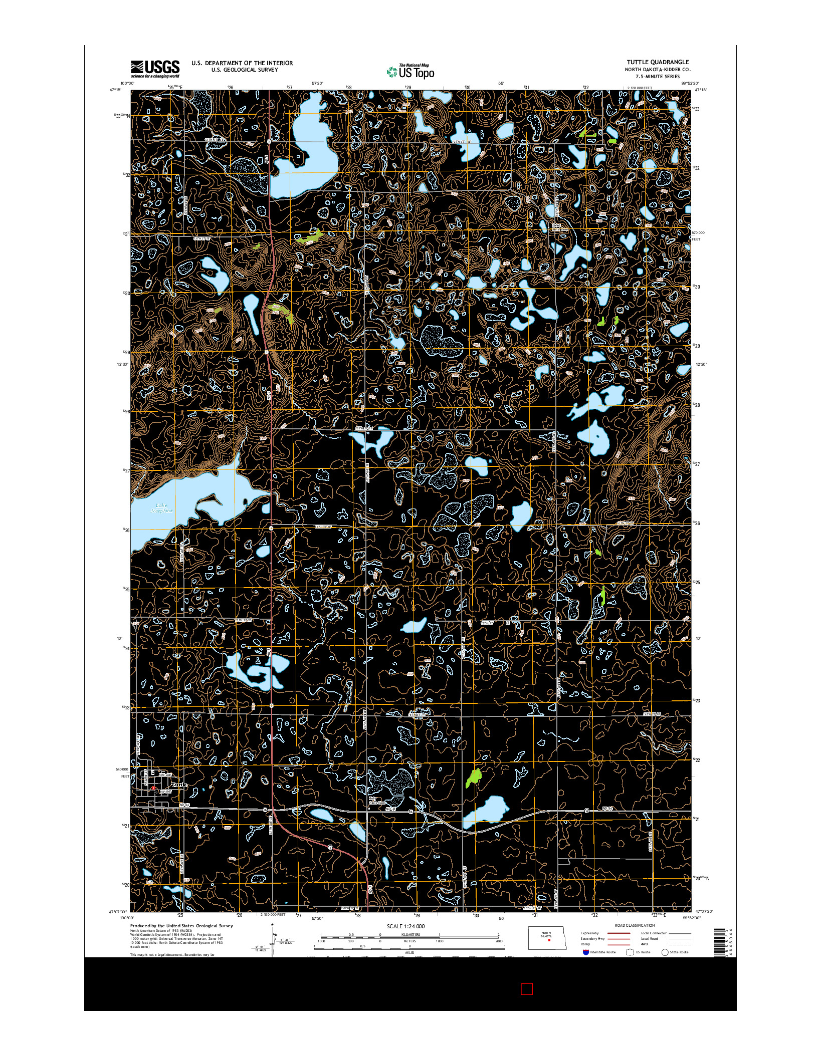 USGS US TOPO 7.5-MINUTE MAP FOR TUTTLE, ND 2014