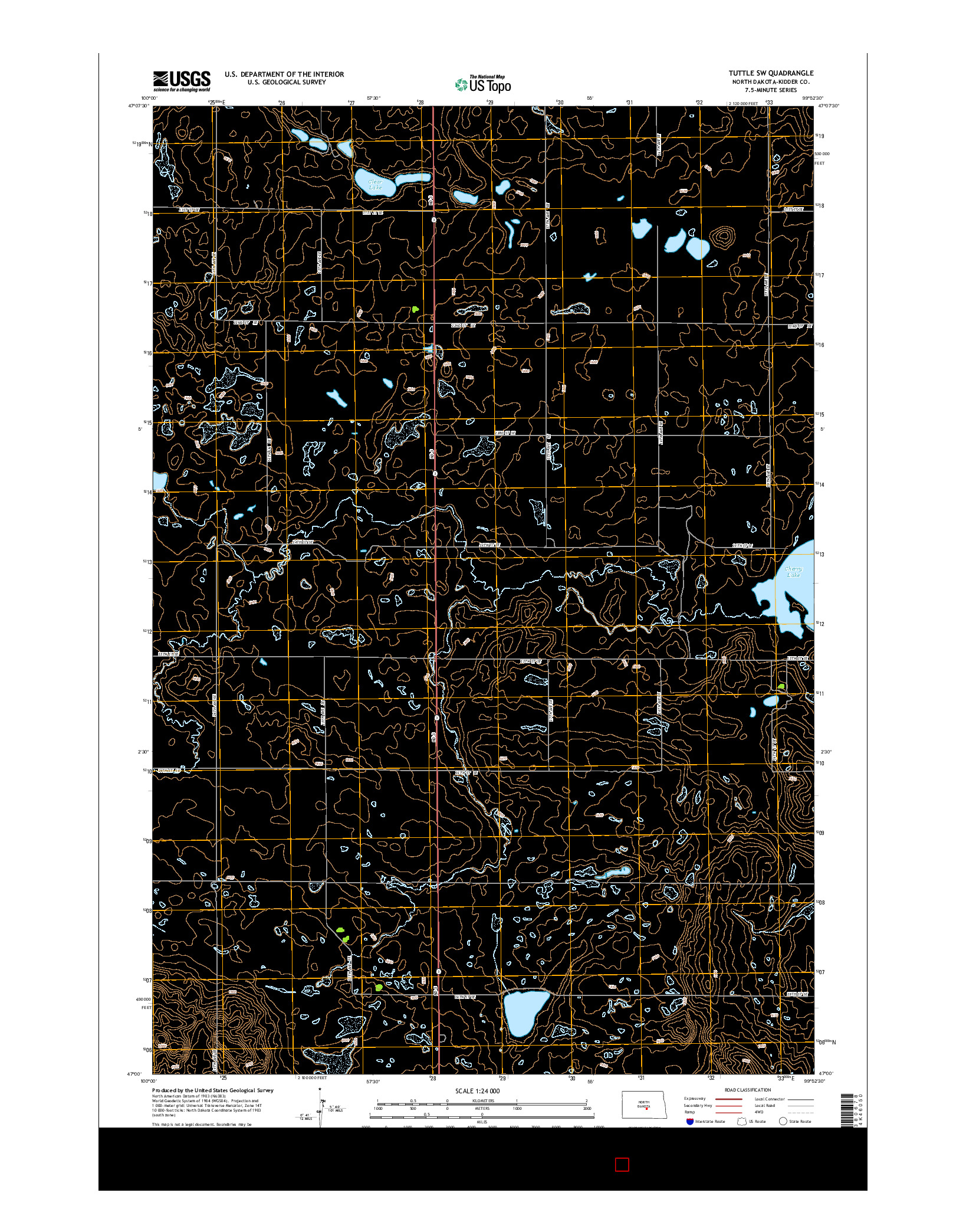USGS US TOPO 7.5-MINUTE MAP FOR TUTTLE SW, ND 2014